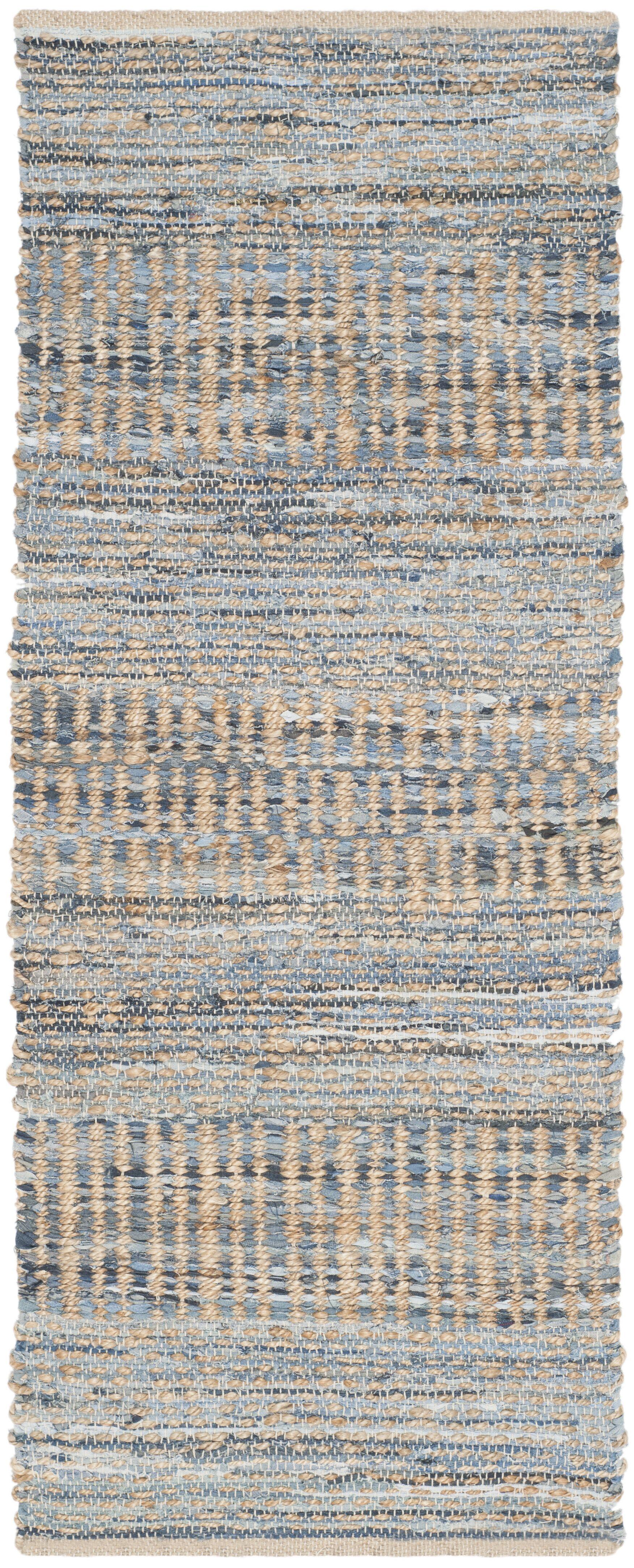 Bernd Hand-Woven Natural/Blue Area Rug Rug Size: Runner 2'3