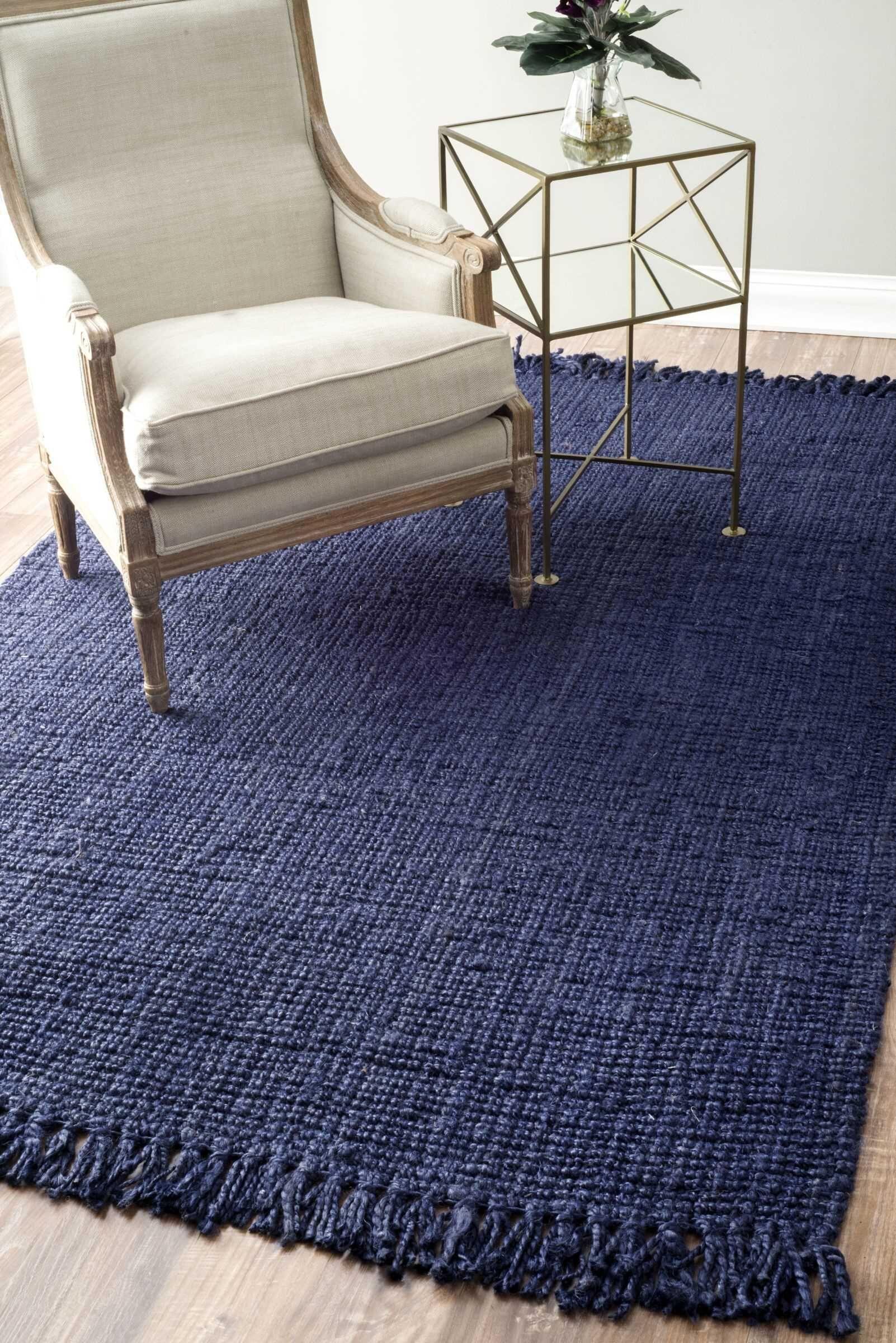 Elana Loop Hand-Woven Navy Area Rug Rug Size: Rectangle 6' x 9'
