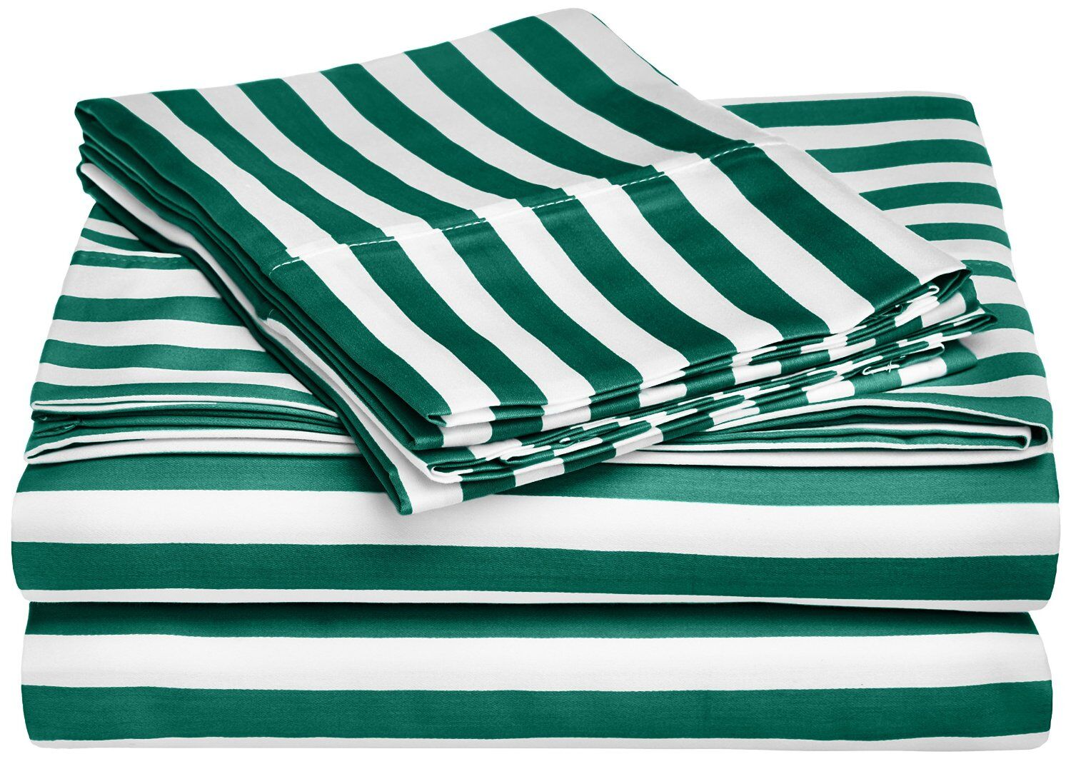 Ariel 600 Thread Count Striped Sheet Set Color: Hunter Green, Size: Queen