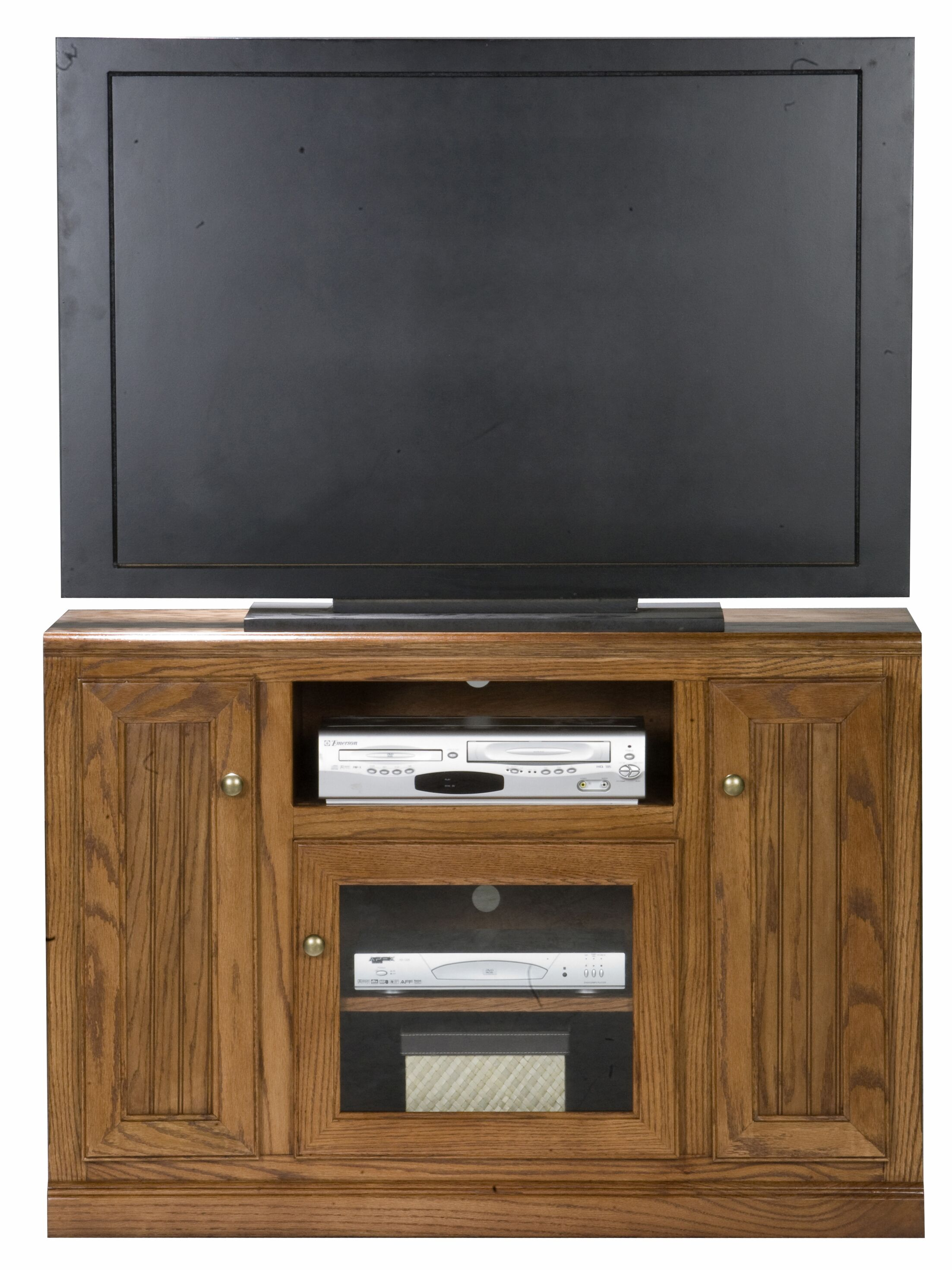 Didier Wood TV Stand Color: Chocolate Mousse, Door Type: Plain Glass