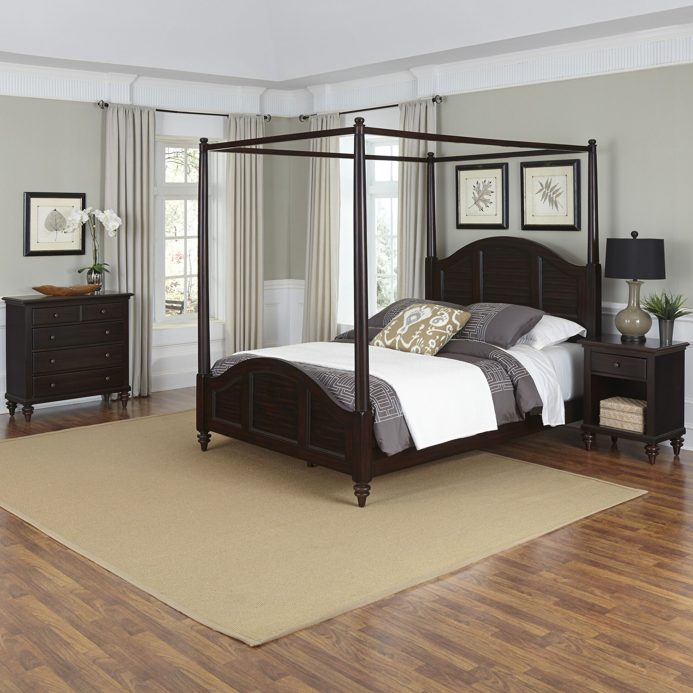 Harrison Canopy 3 Piece Mahogany Bedroom Set Size: King, Color: White