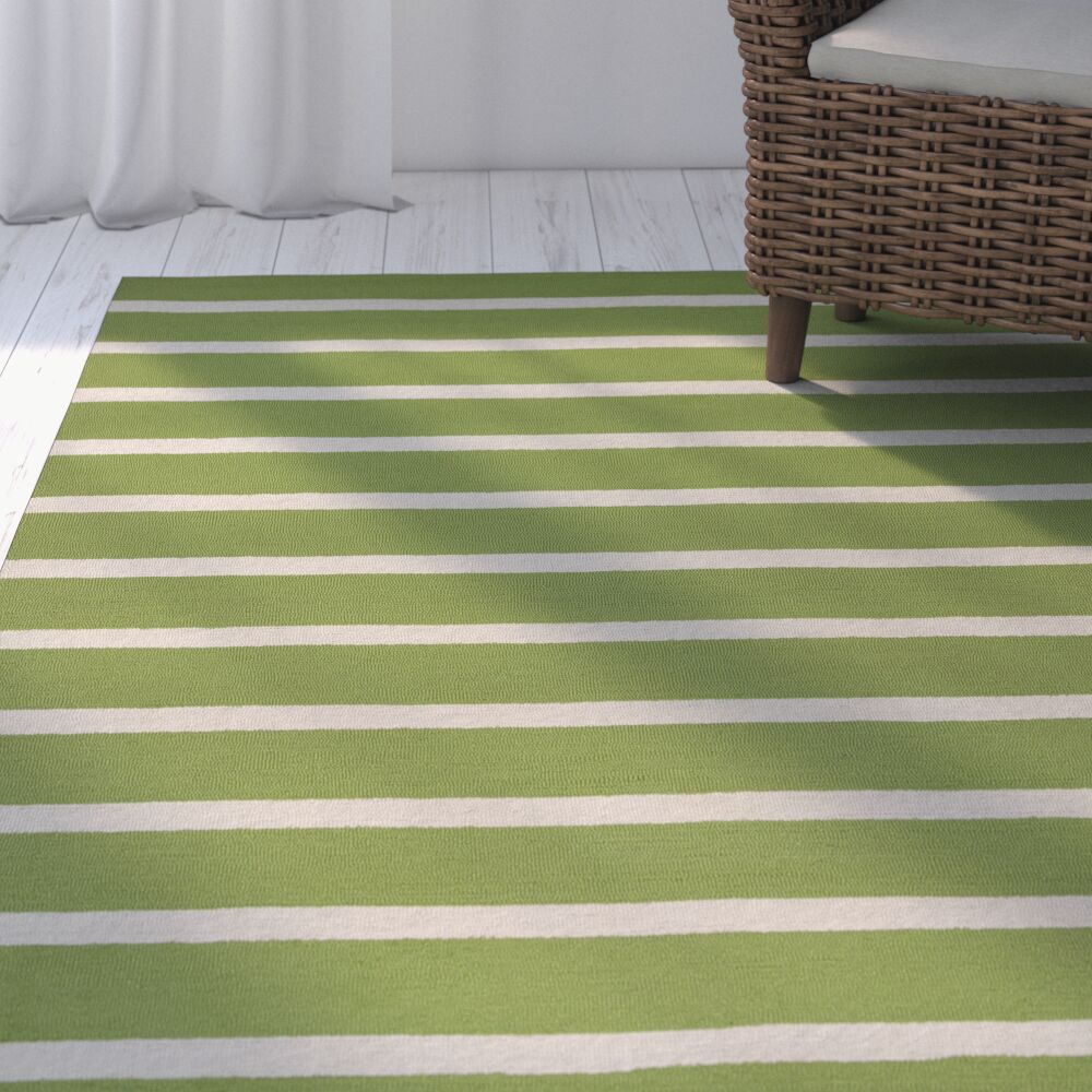 Lyndon Hand-Tufted Lime Indoor/Outdoor Area Rug Size: Round 8'