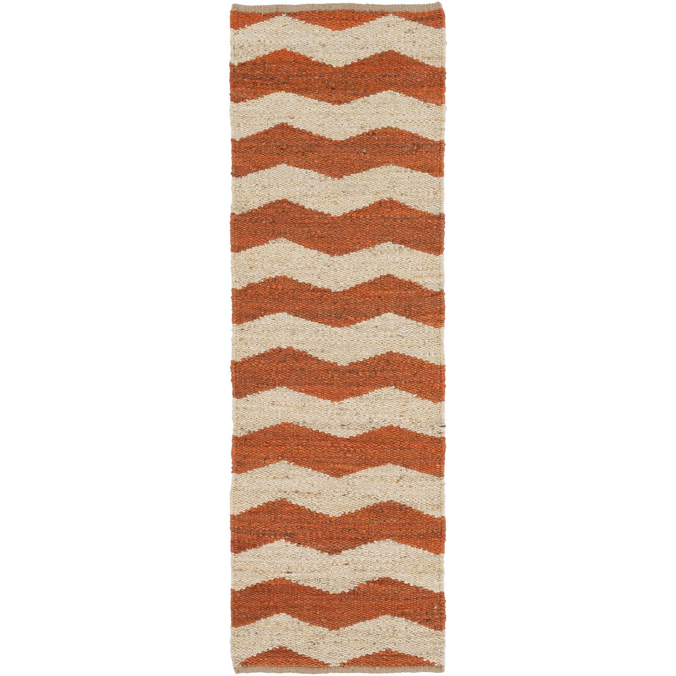 Woodcroft Hand-Woven Burnt Orange/Cream Area Rug Rug Size: Runner 2'6