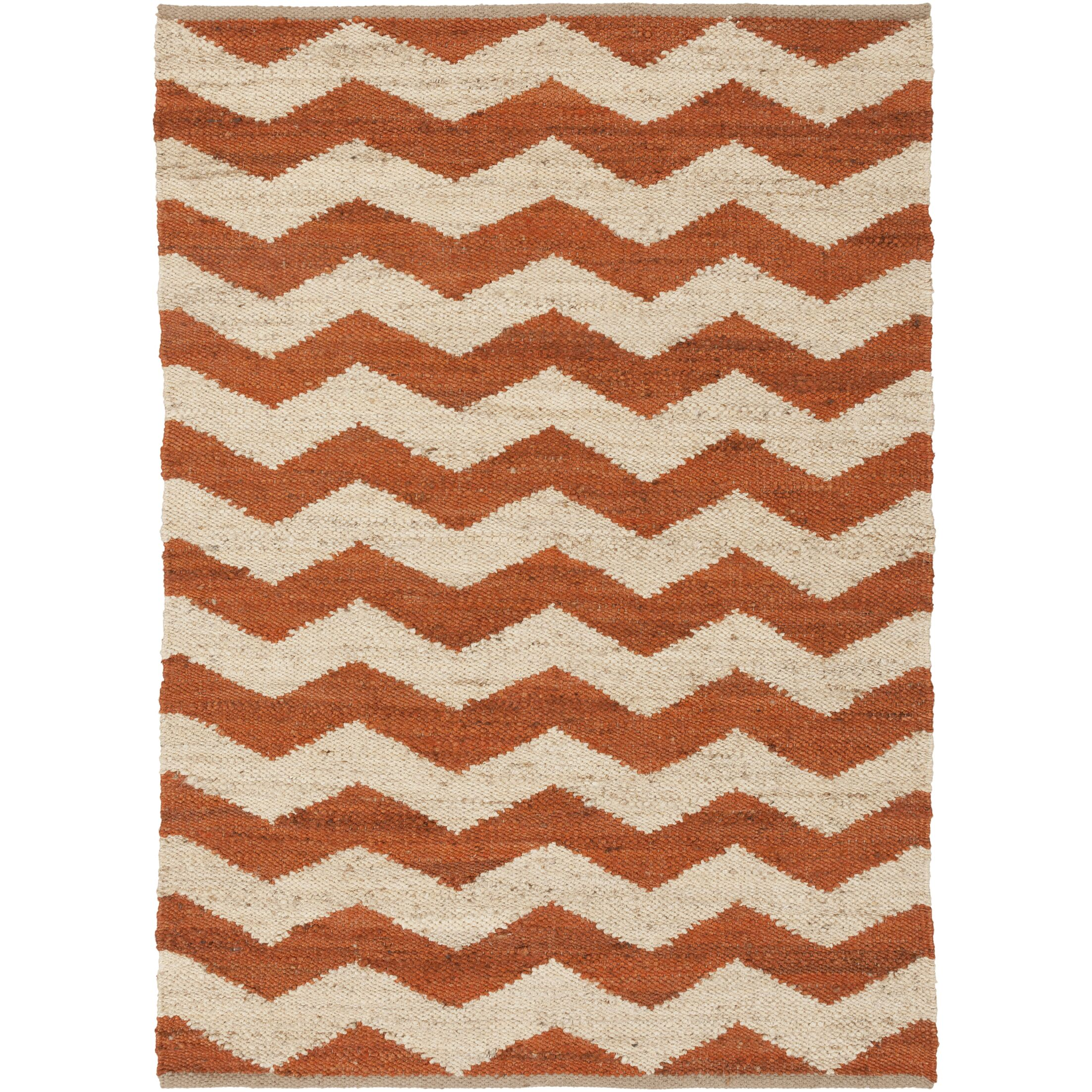 Woodcroft Hand-Woven Burnt Orange/Cream Area Rug Rug Size: Rectangle 5' x 7'6