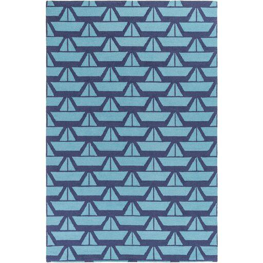 Huntington Hand Hooked Wool Dark Blue Area Rug Rug Size: Rectangle 5' x 7'6