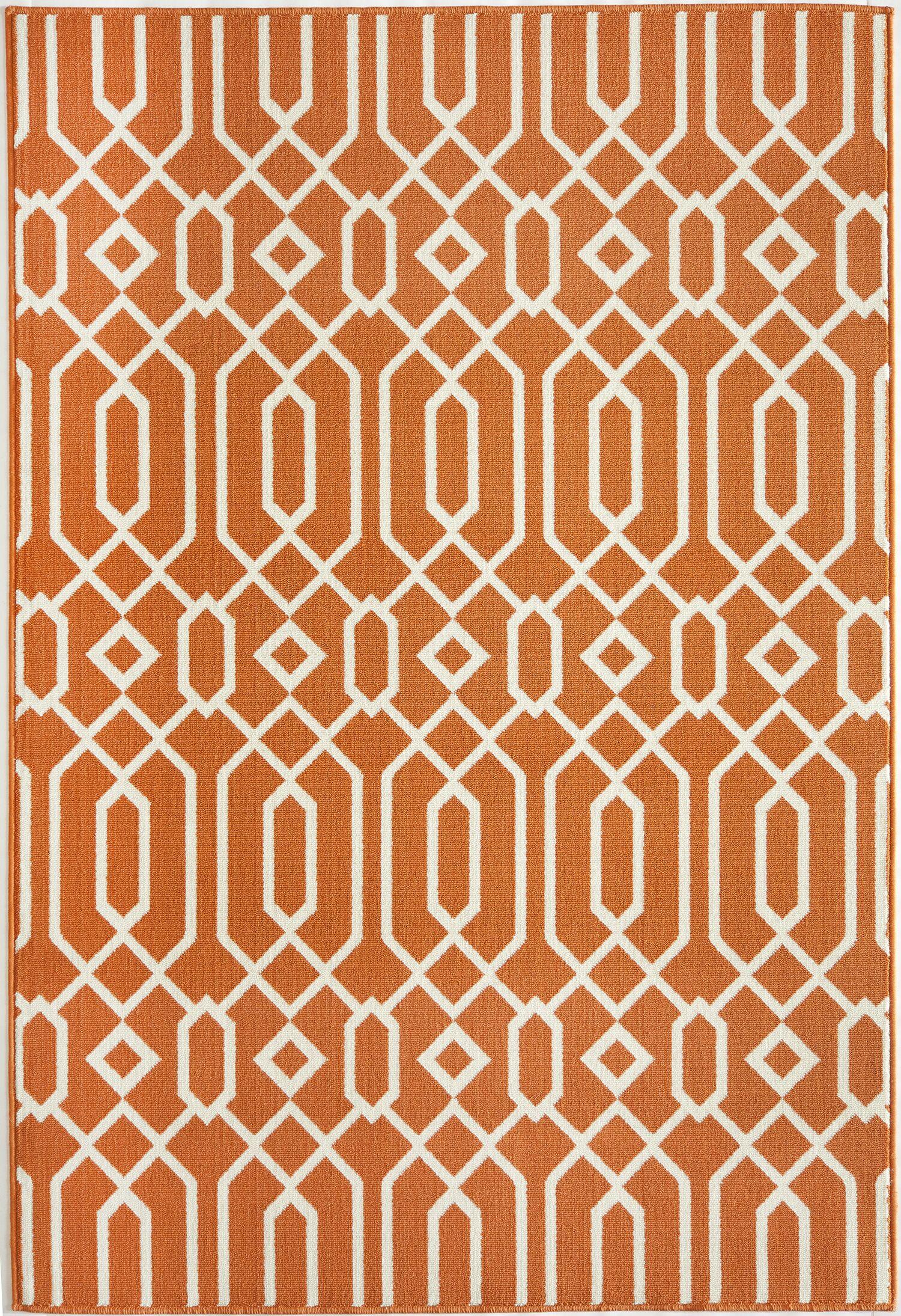 Halliday Orange Indoor/Outdoor Area Rug Rug Size: Rectangle 6'7