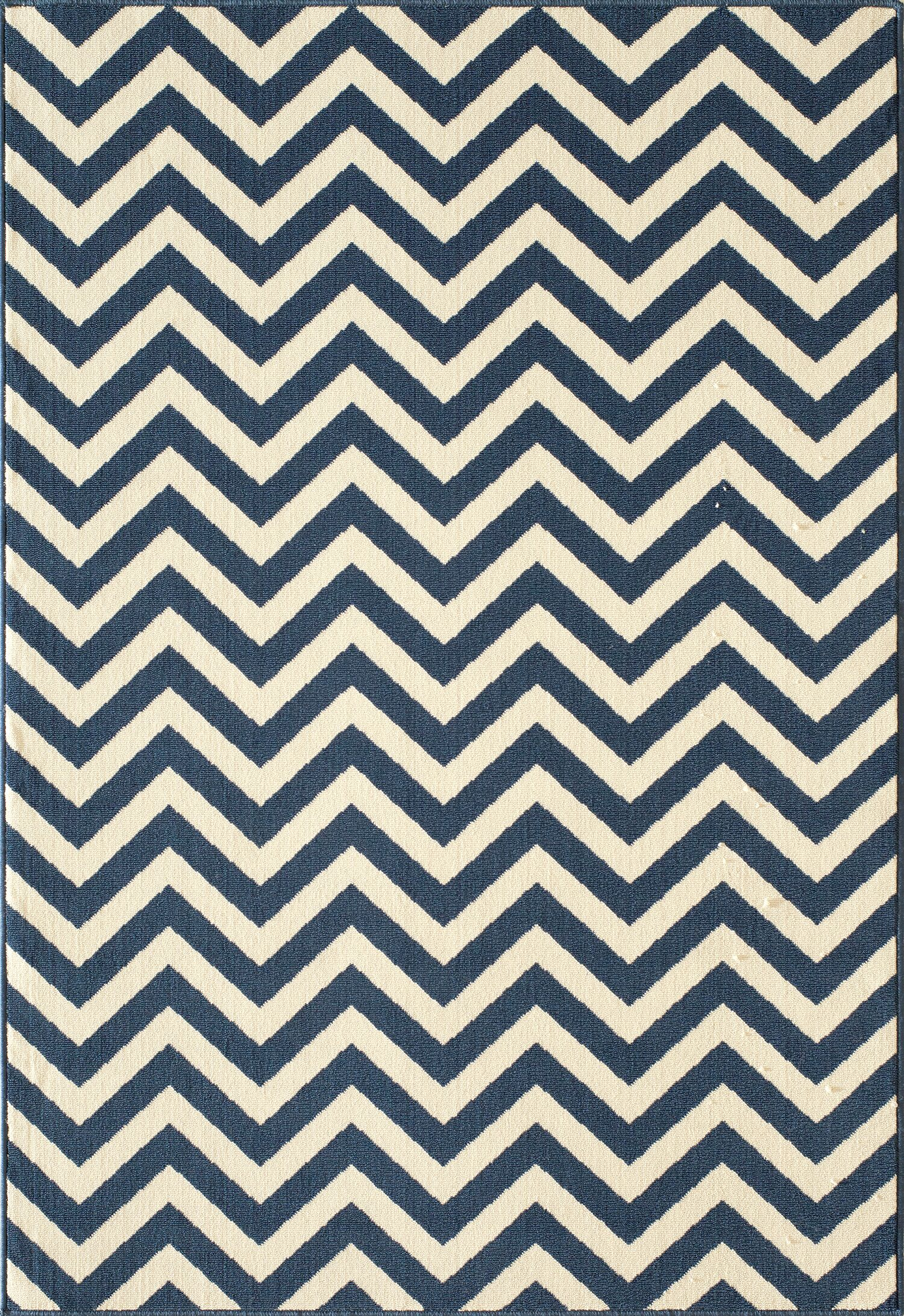 Halliday Navy/White Area Rug Rug Size: Rectangle 8'6
