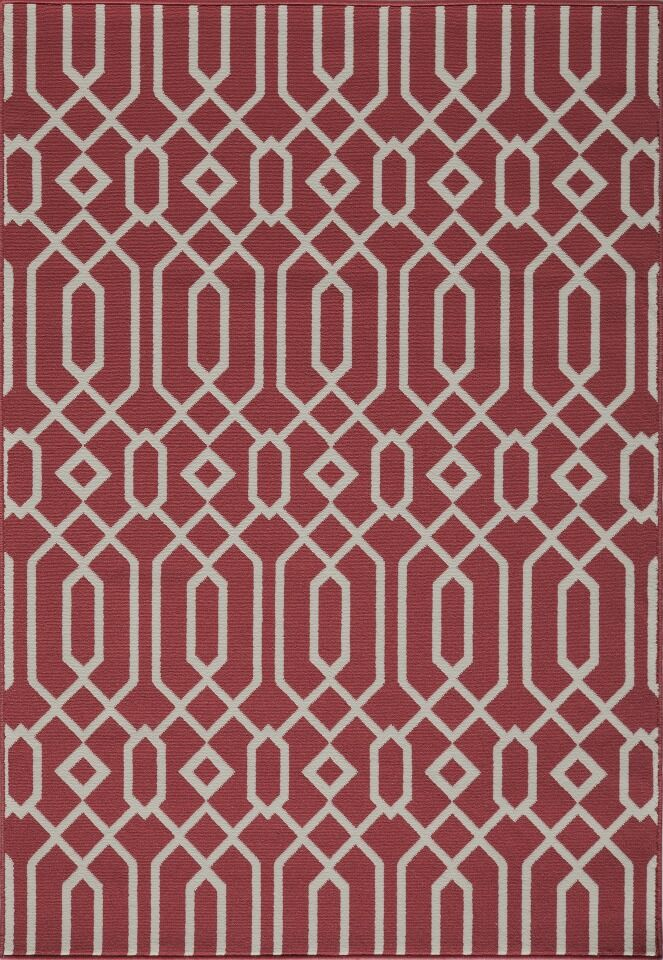 Halliday Traditional Red Geometric Indoor/Outdoor Area Rug Rug Size: Rectangle 6'7