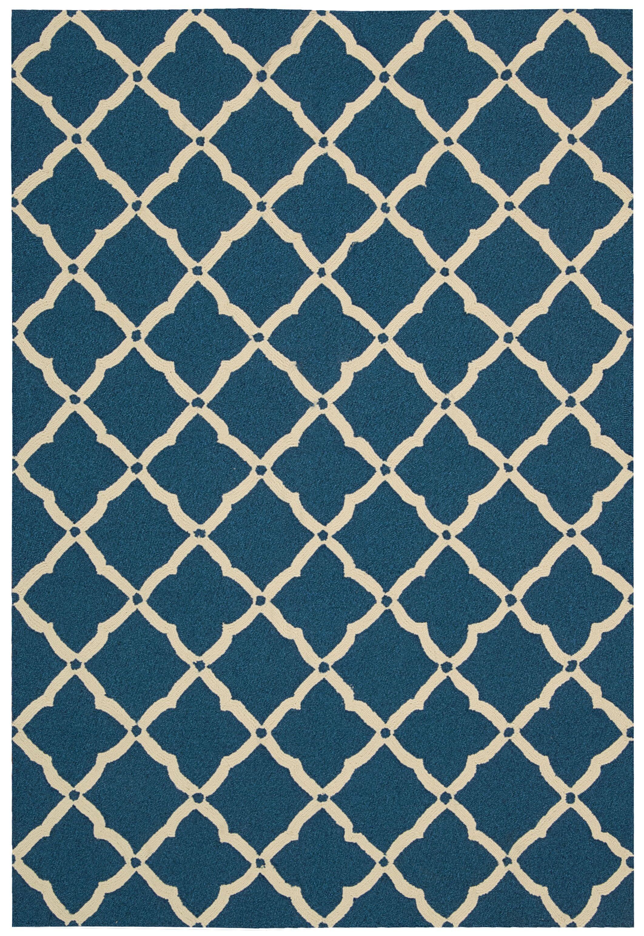 Merganser Hand-Tufted Navy/Beige Indoor/Outdoor Area Rug Rug Size: Rectangle 3'6
