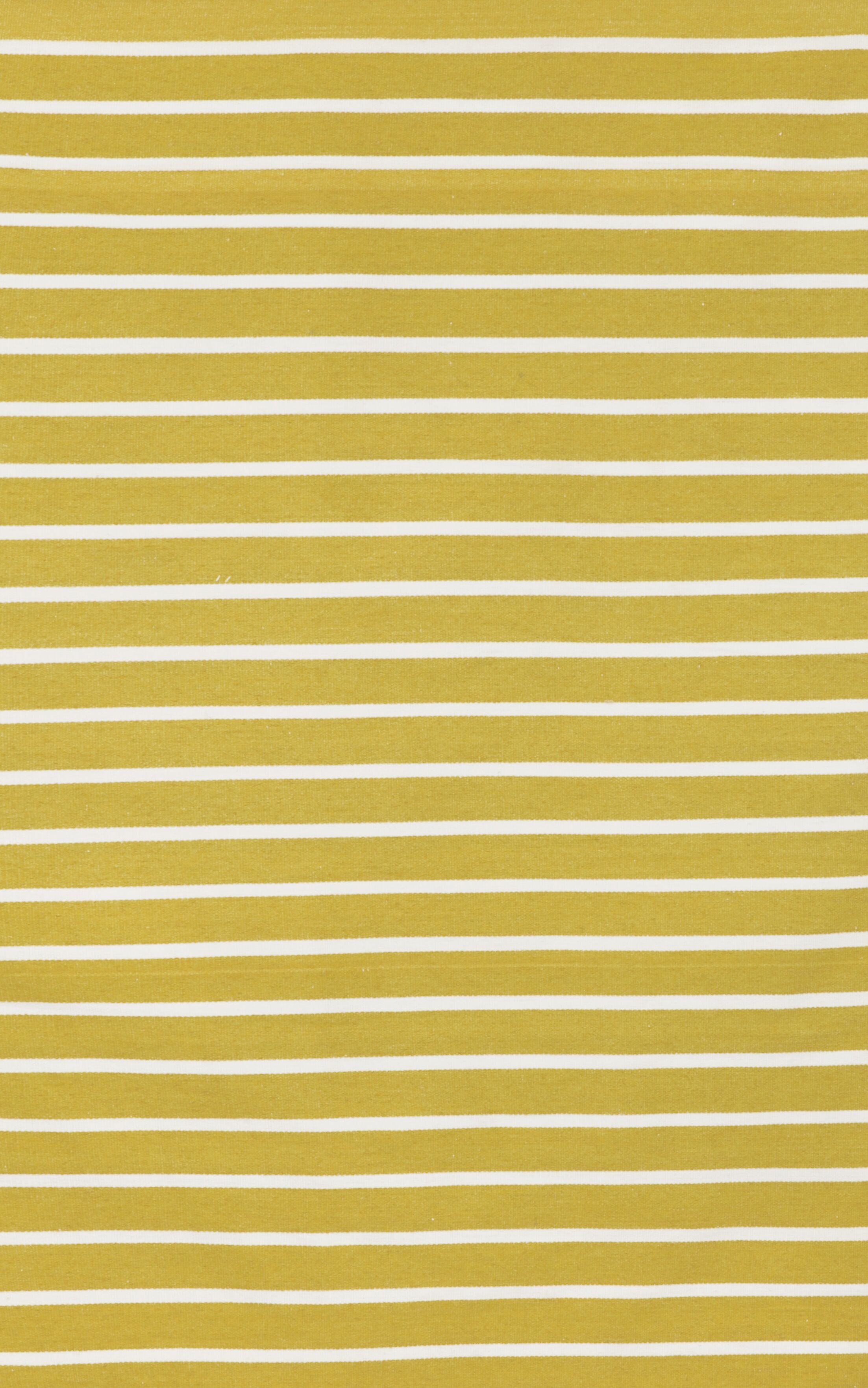 Ranier Pinstripe Hand-Woven Yellow/Ivory Indoor/Outdoor Area Rug Rug Size: Rectangle 7'6
