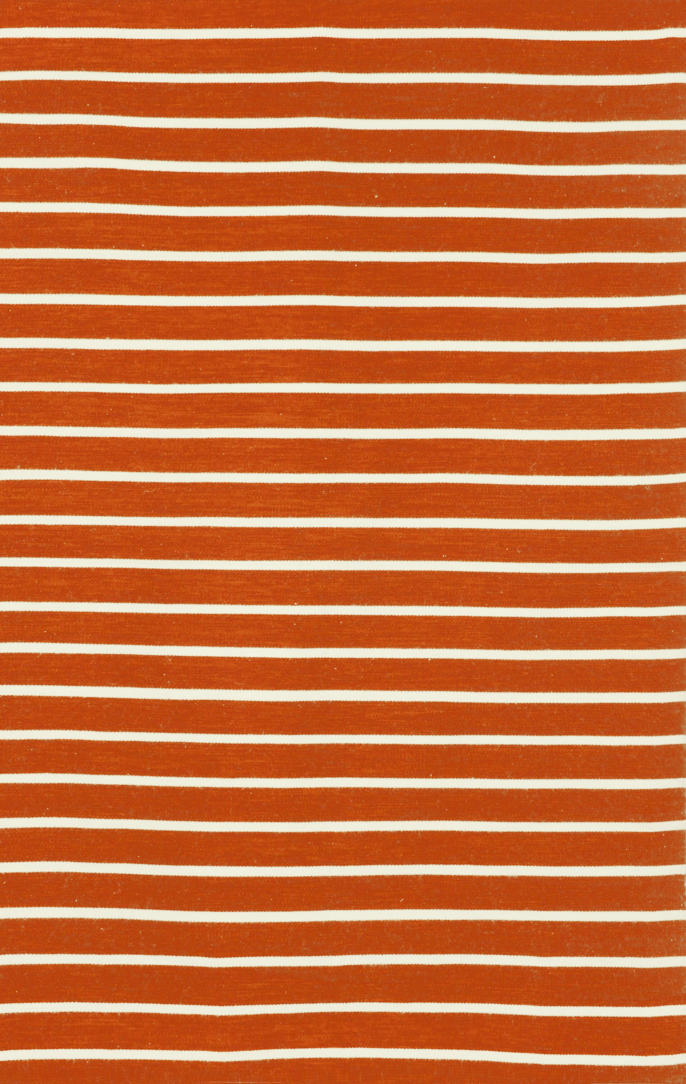 Ranier Pinstripe Hand-Woven Paprika Orange Indoor/Outdoor Area Rug Rug Size: Rectangle 7'6
