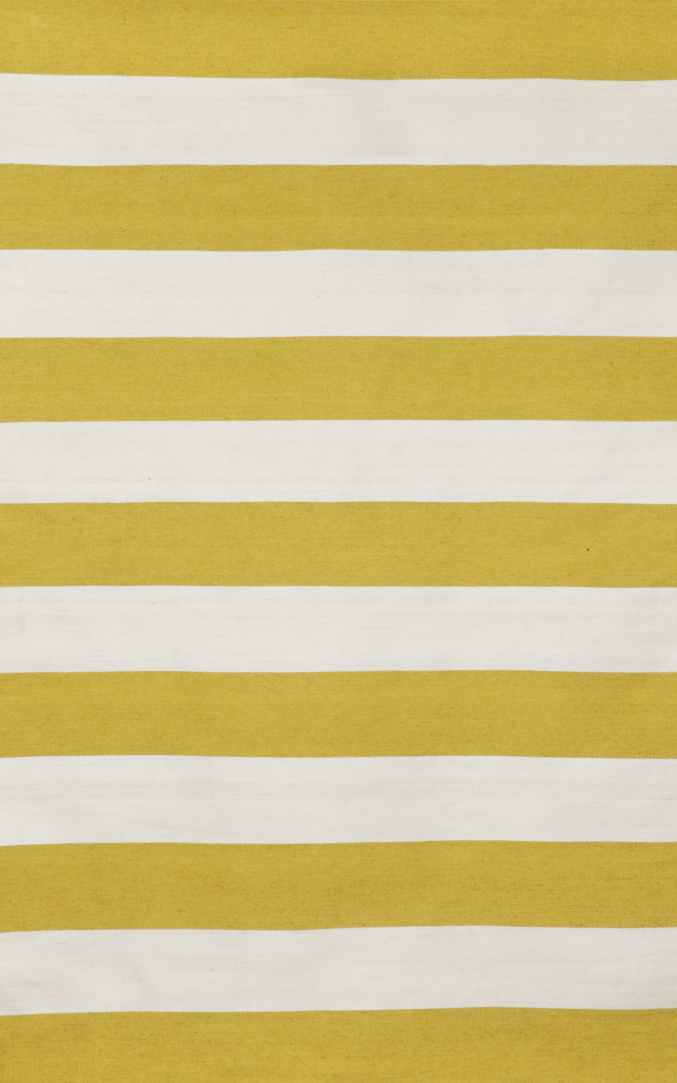 Ranier Stripe Hand-Woven Yellow/Ivory Indoor/Outdoor Area Rug Rug Size: Rectangle 5' x 7'6