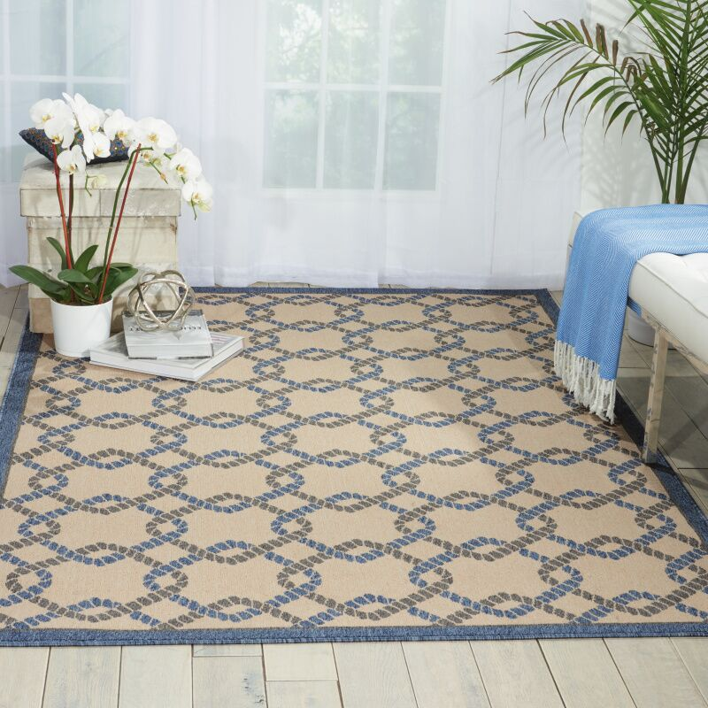 Kittrell Ivory/Blue/Gray Indoor/Outdoor Area Rug Rug Size: Rectangle 3'11