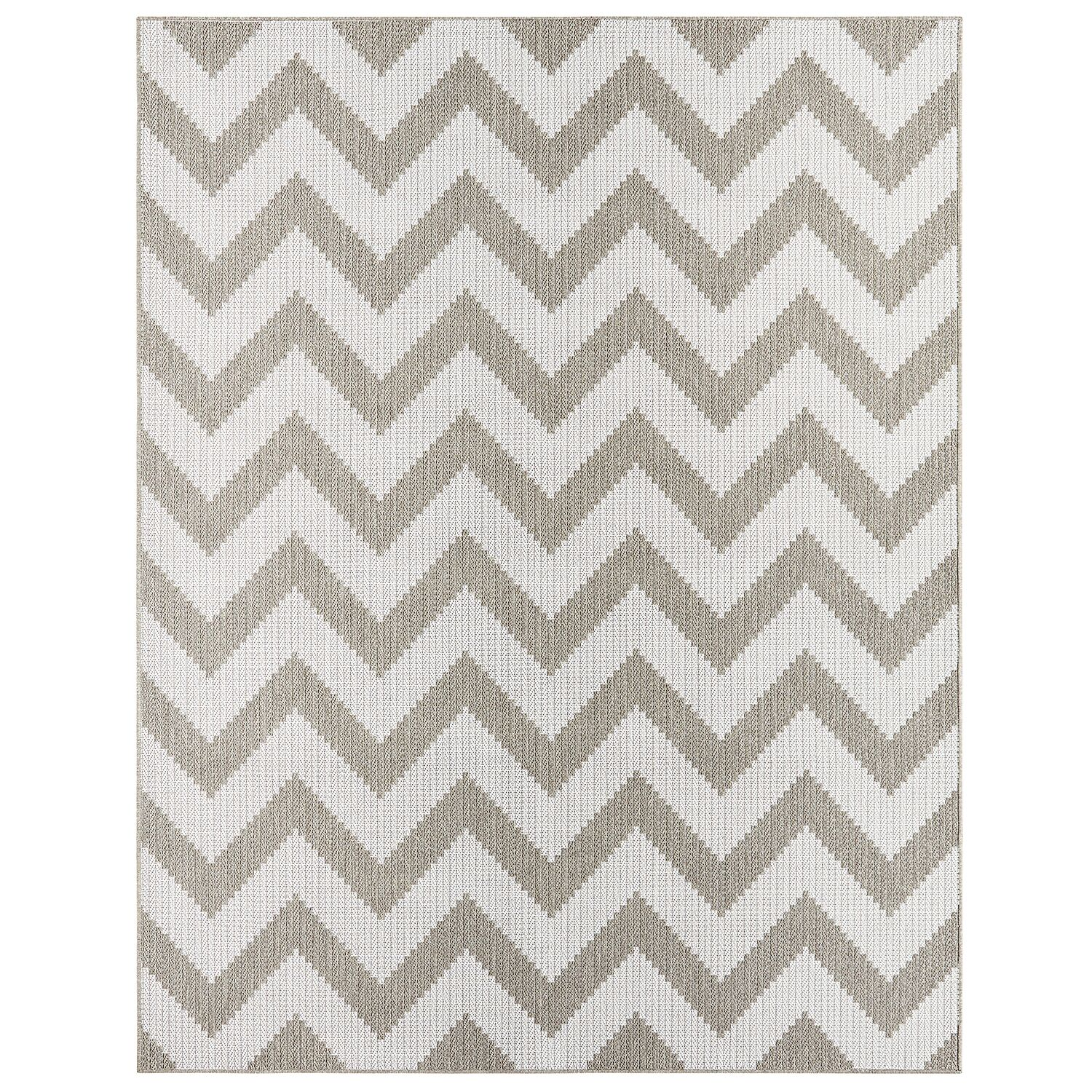 Eisenhower Chevron Gray/Silver Indoor/Outdoor Area Rug Rug Size: Rectangle 8' x 10'