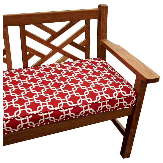 Bridgewood Knotted Indoor/Outdoor Bench Cushion Fabric: Knotted Red, Size: 48