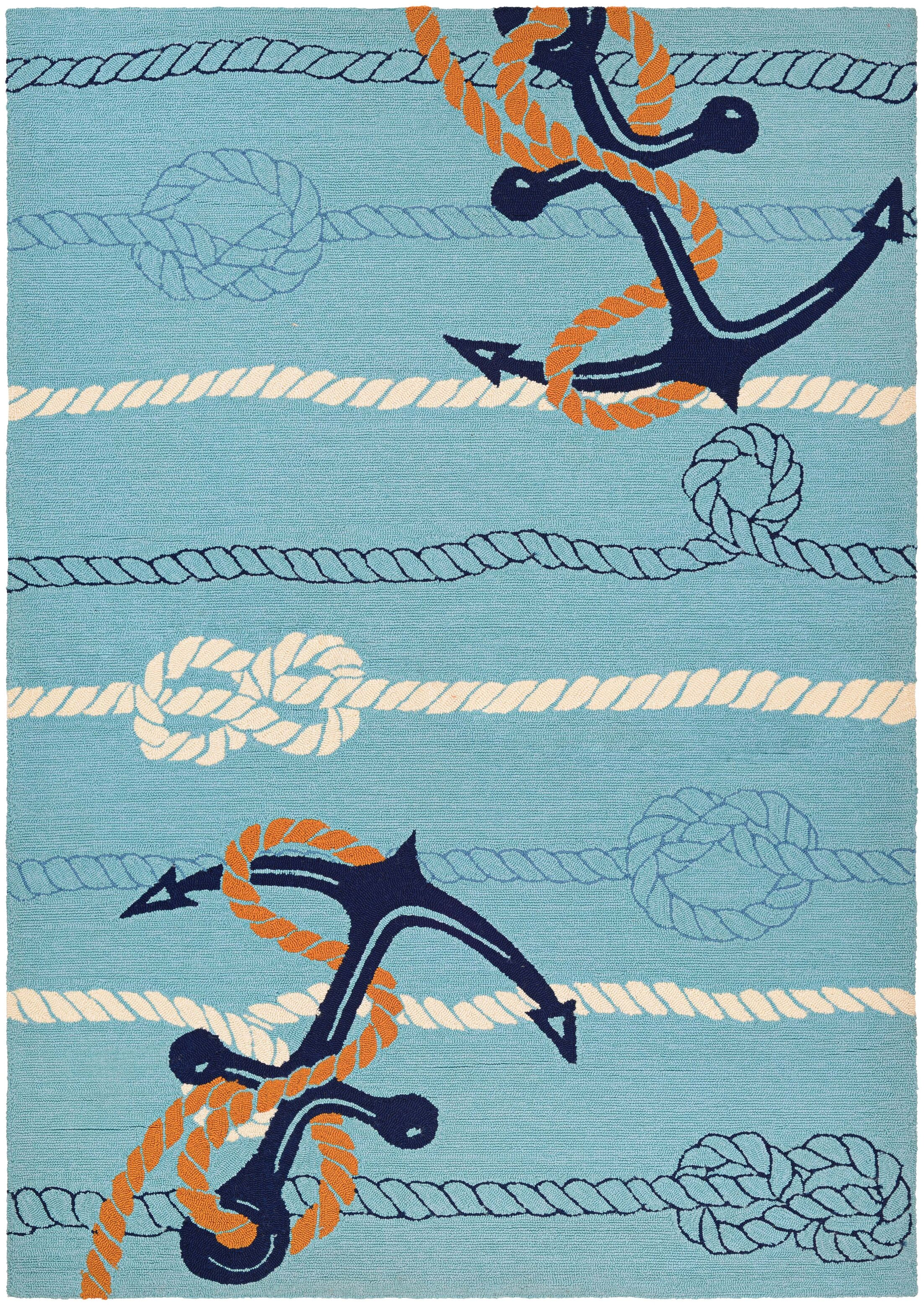 Seaside Anchor Bend Hand-Knotted Ocean Blue Indoor/Outdoor Area Rug Rug Size: Rectangle 5'6