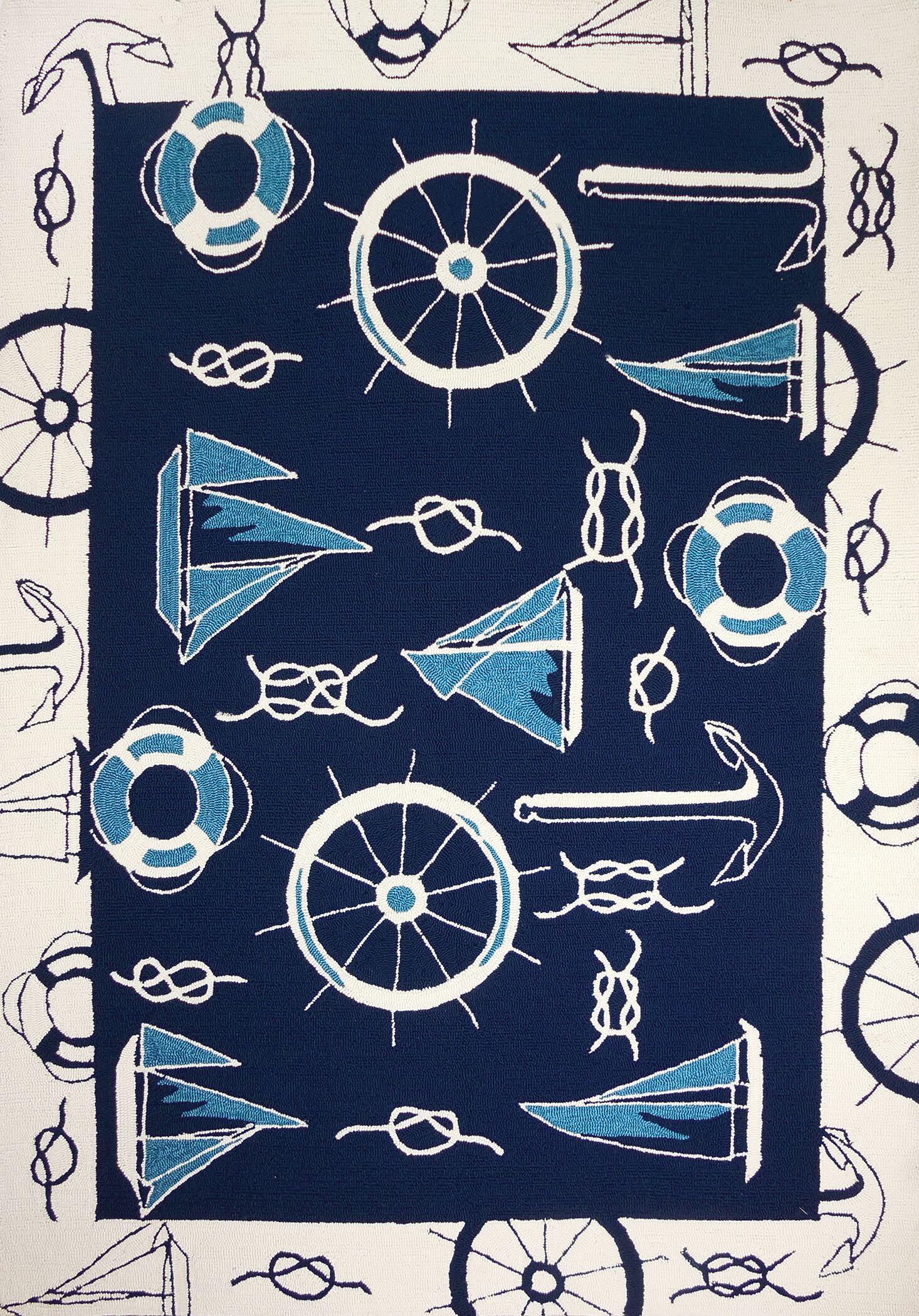 Brownsville Nautical Blue/Beige Indoor/Outdoor Area Rug Rug Size: Rectangle 2'2