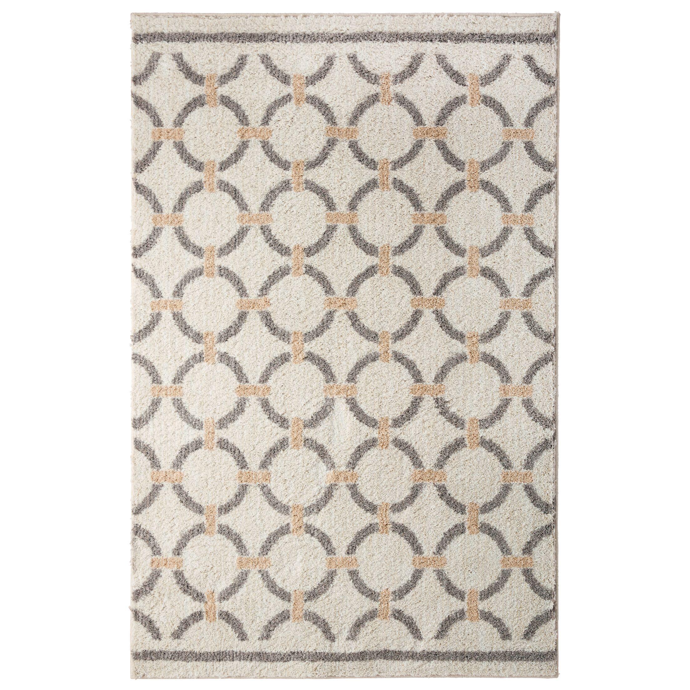 Elmwood Linked Circles Beige/Tan Area Rug Rug Size: Rectangle 5' x 7'