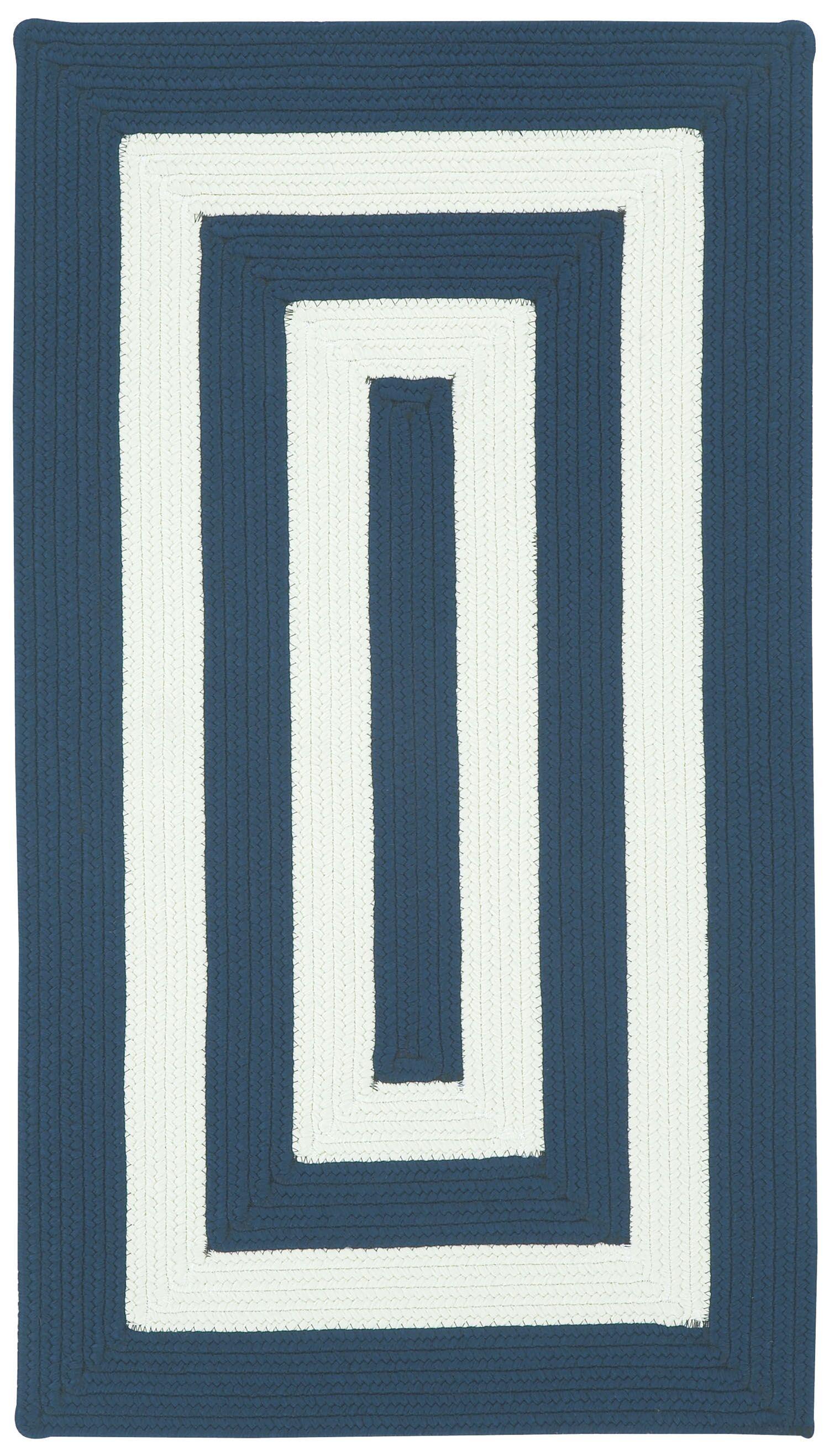 Mitscher Hand-Braided Indigo/White Indoor/Outdoor Area Rug Rug Size: Cross Sewn 11'4