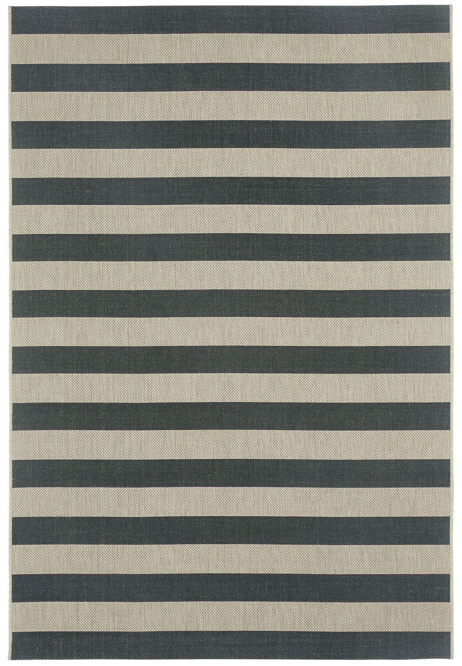 Palm Cove Cinders Black/Beige Striped Outdoor Area Rug Rug Size: Rectangle 3'11