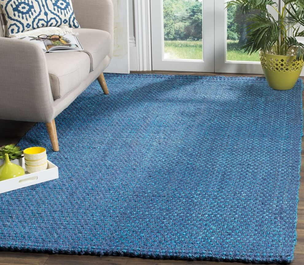 Emery Hand-Woven Blue Area Rug Rug Size: Rectangle 4' x 6'