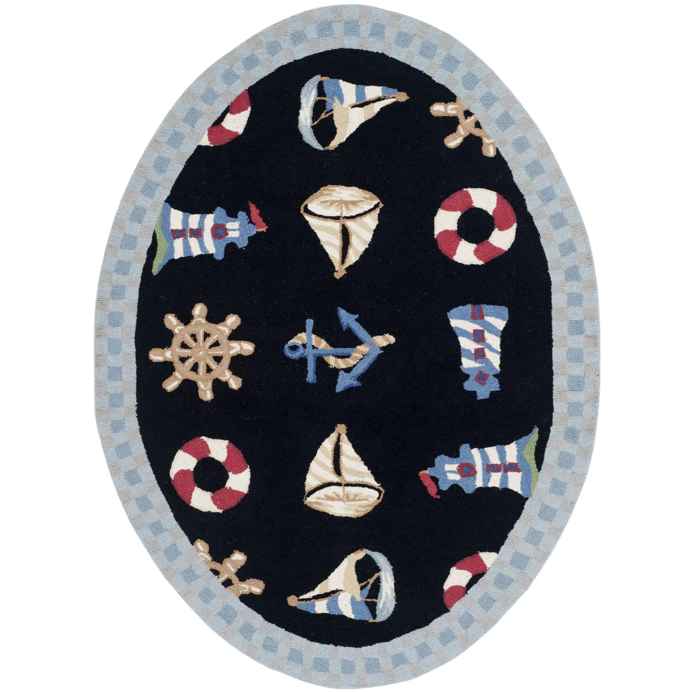 Eldridge Black / Blue Marina Novelty Area Rug Rug Size: Oval 4'6
