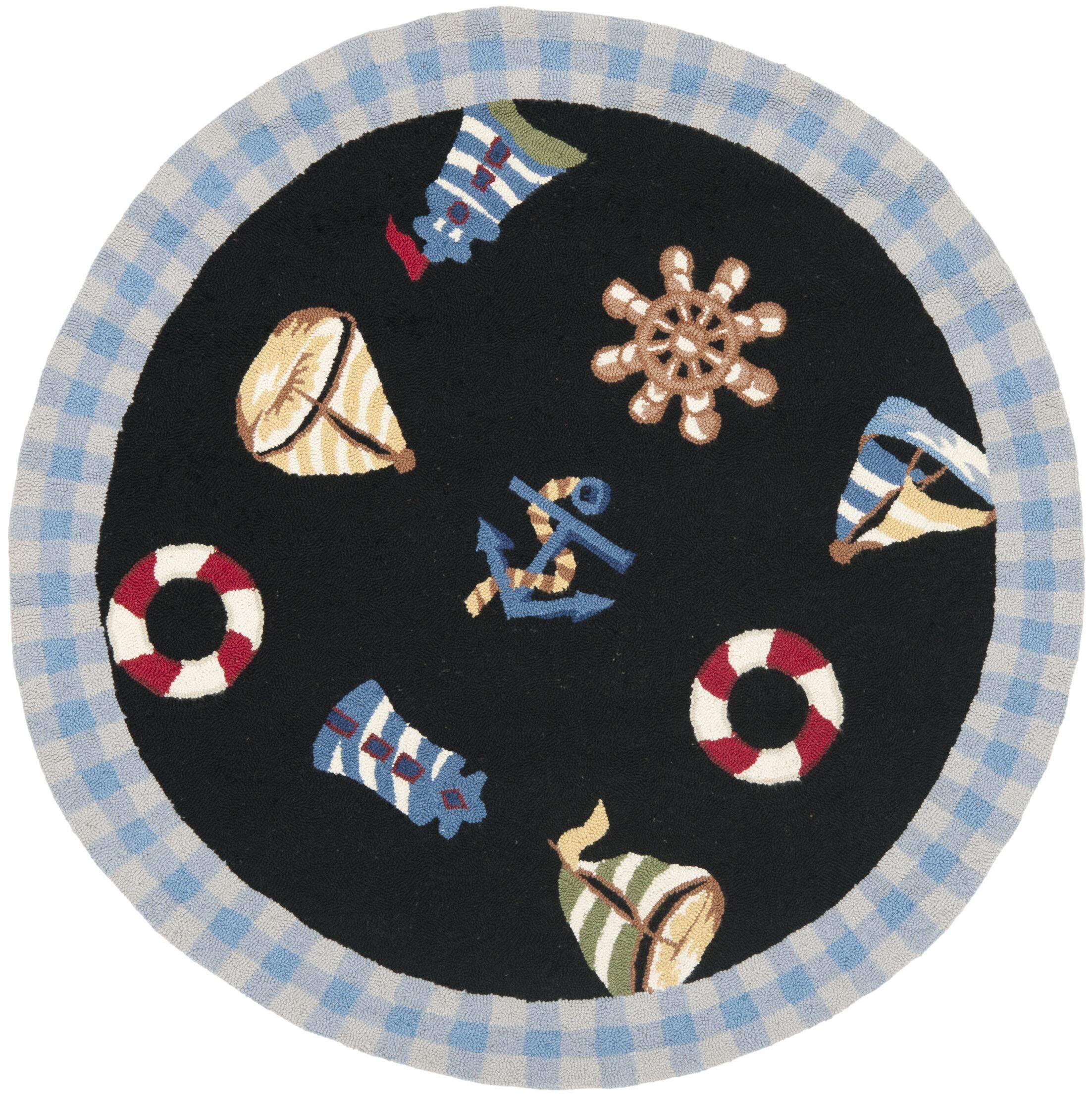 Eldridge Black / Blue Marina Novelty Area Rug Rug Size: Round 8'