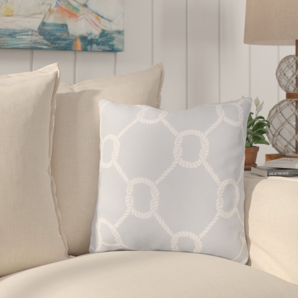 Sweetwood Tied Up Delight Outdoor Throw Pillow Color: Light Gray/Ivory, Size: 20