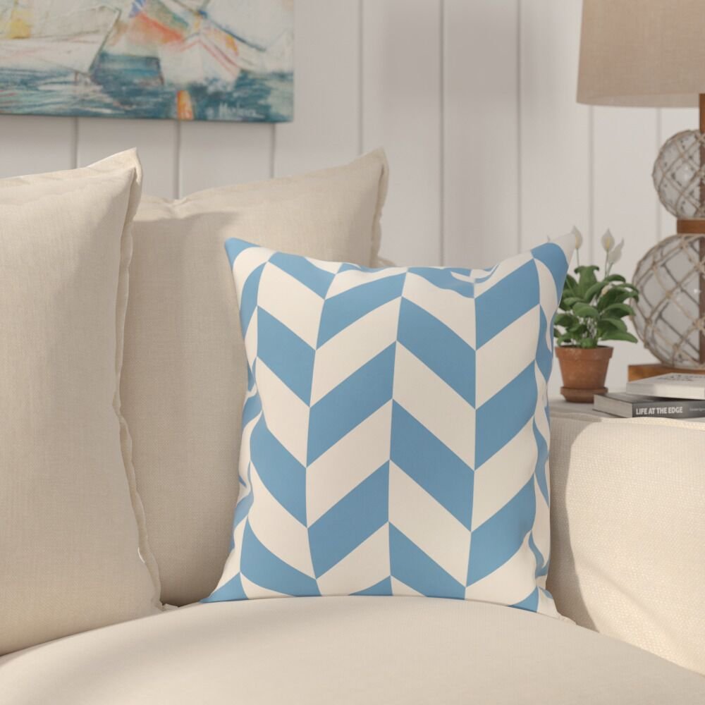 Kipling Geometric Print Outdoor Throw Pillow Color: Brighter Sky, Size: 18