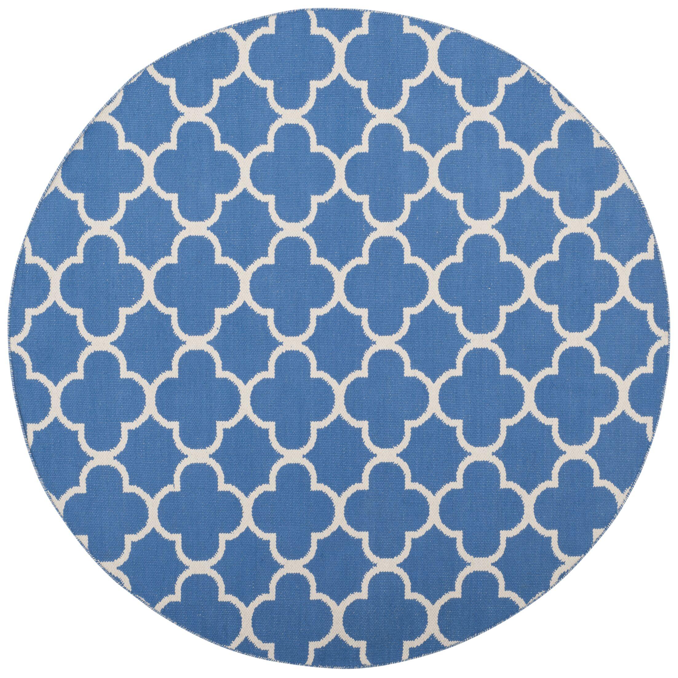 Desota Hand-Woven Blue/Ivory Area Rug Rug Size: Round 6'