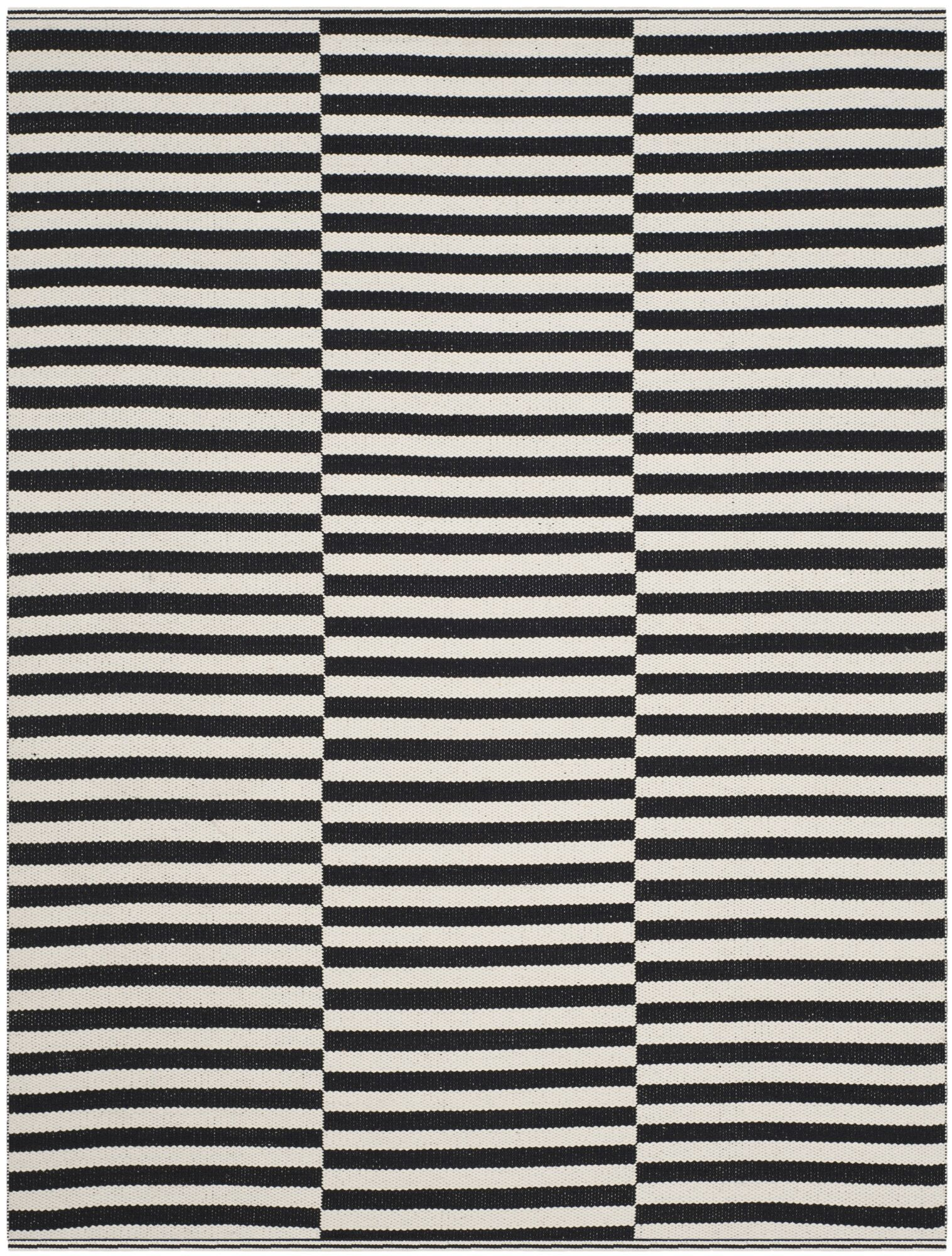 Orwell Hand-Woven Cotton Ivory/Black Area Rug Rug Size: 4' x 6'