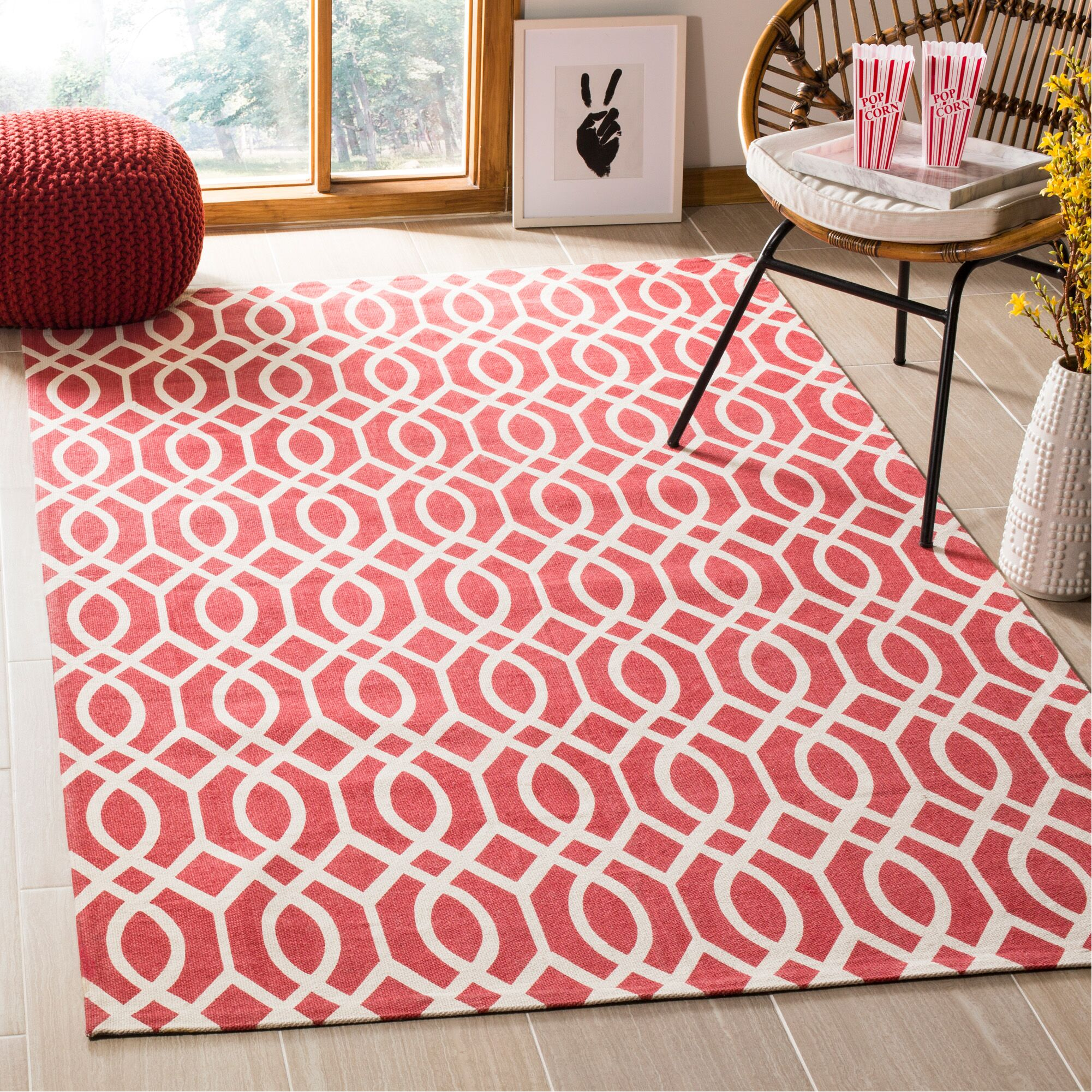 Nolan Hand-Loomed Coral/Ivory Area Rug Rug Size: Rectangle 5' x 8'
