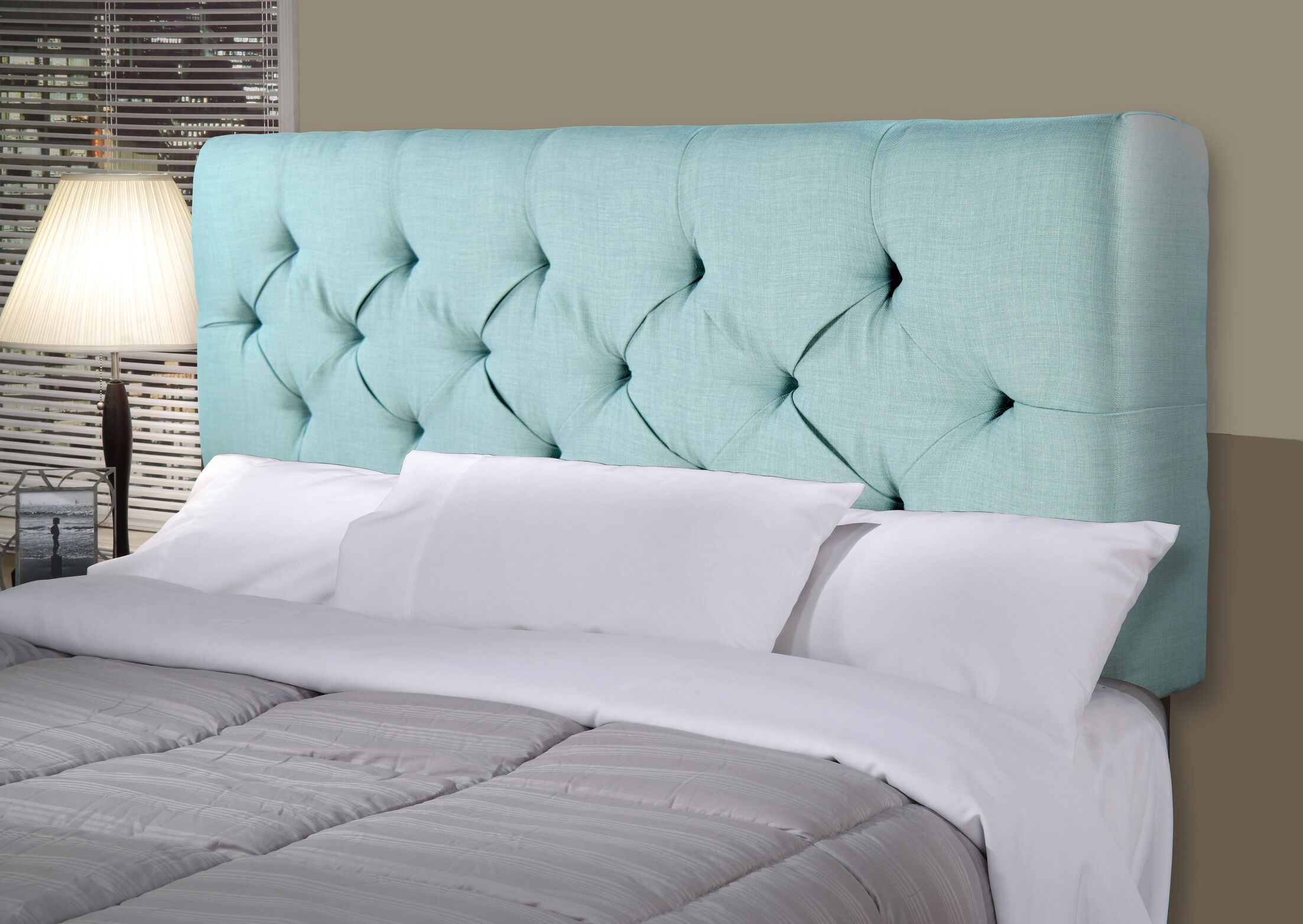 Jackie Upholstered Panel Headboard Size: Twin, Upholstery: Gray / Red Tint