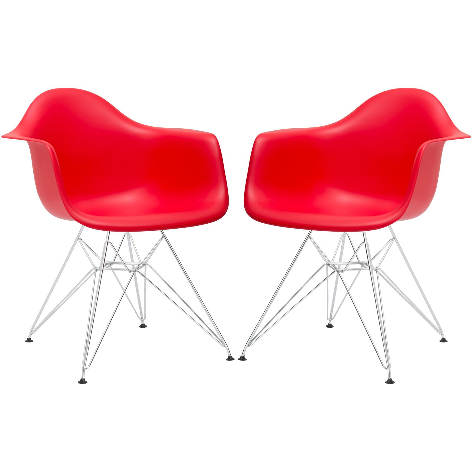 Padget Arm Chair (Set of 2) Upholstery: Red, Leg Finish: Chrome