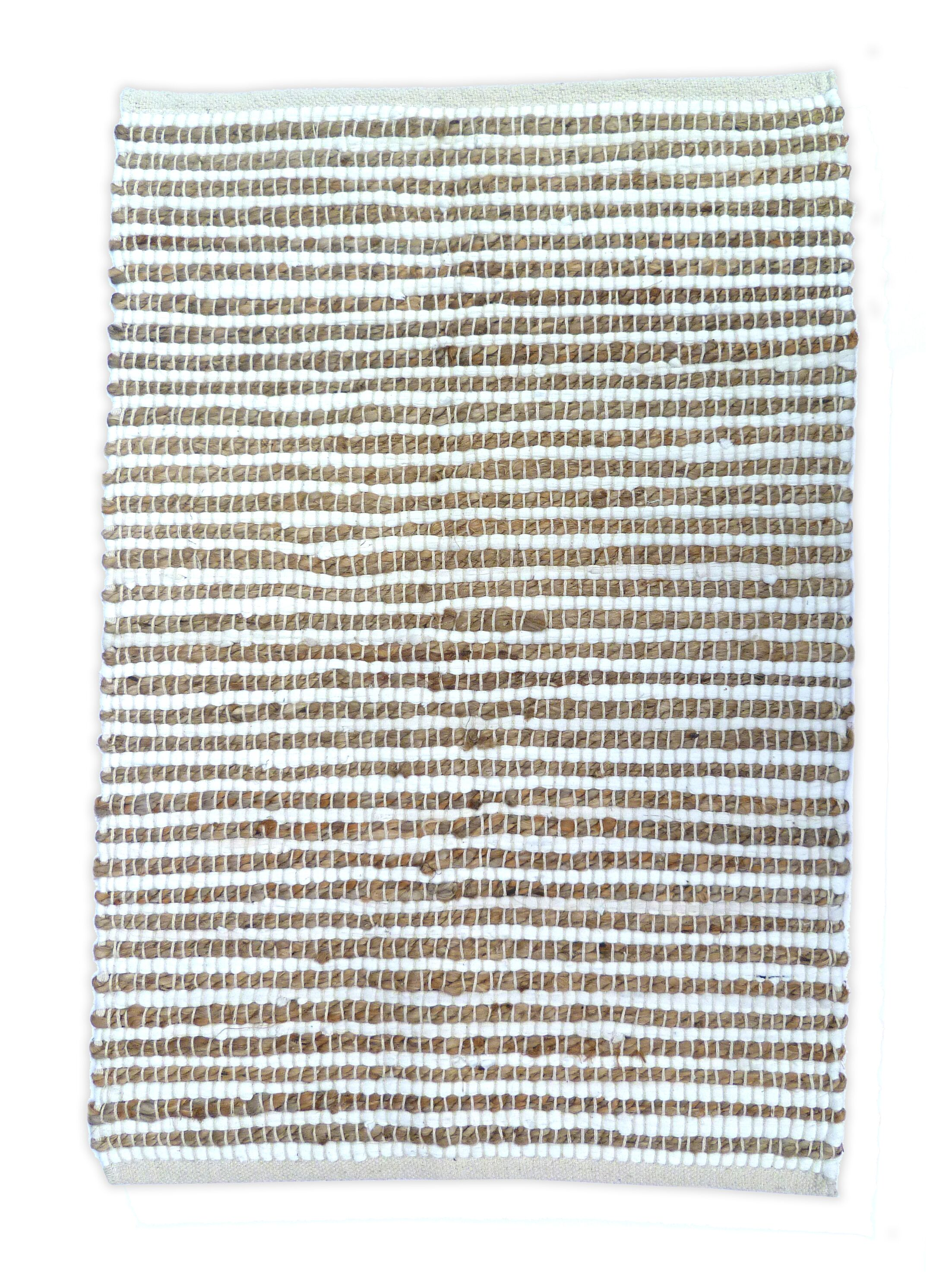 Sand Stripe White/Natural Area Rug Rug Size: 4' x 6'