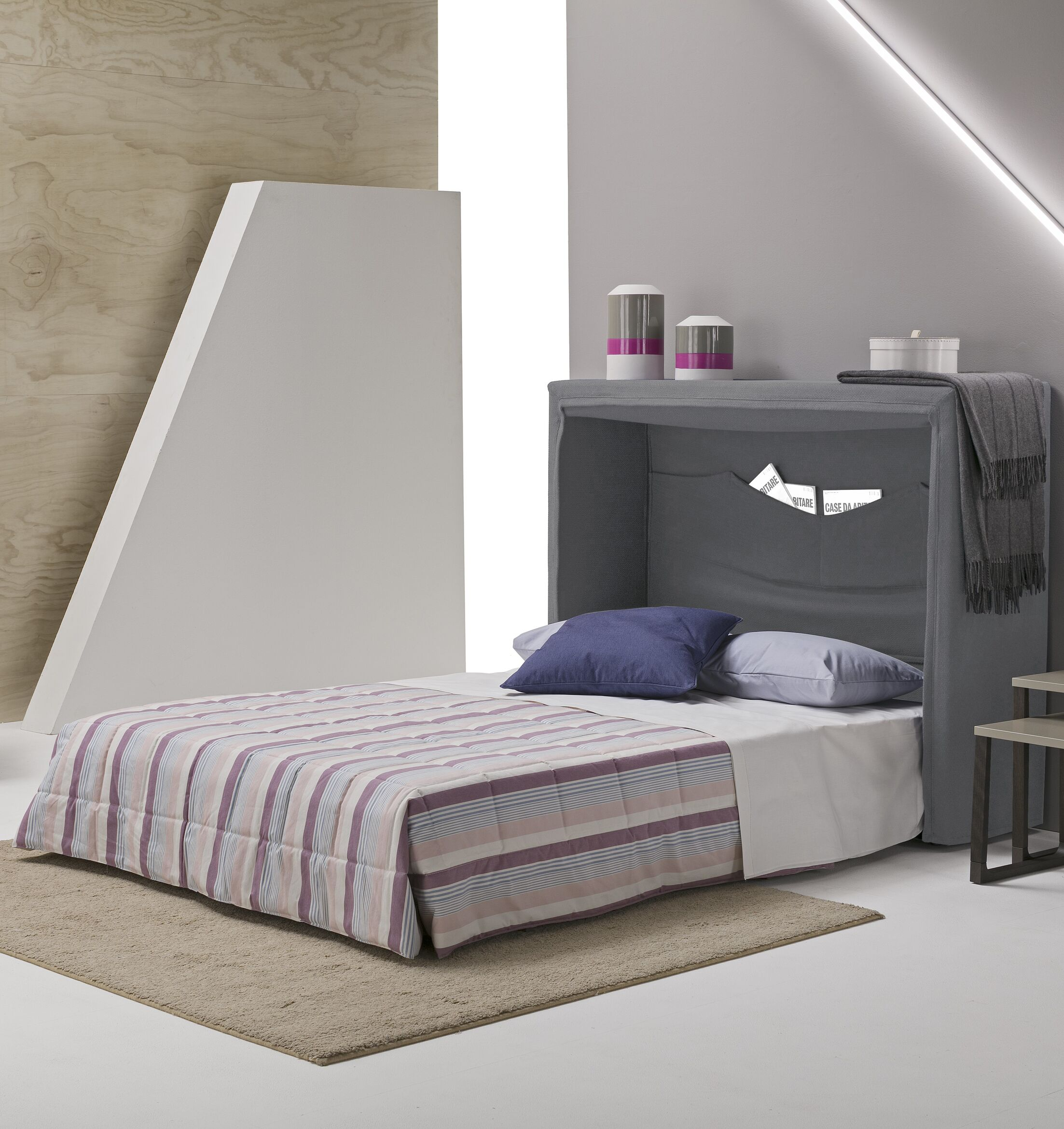 Sue Full/Double Upholstered Murphy Bed with Mattress Color: Light Gray