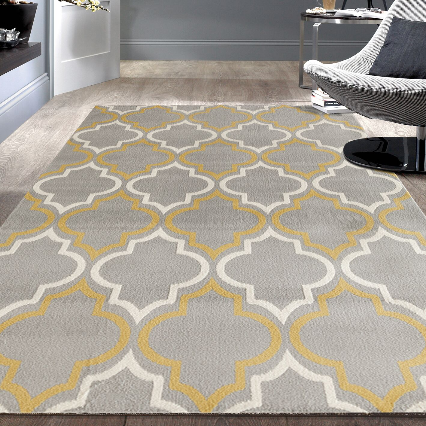 Freeman Gray / Yellow Area Rug Rug Size: 7'6