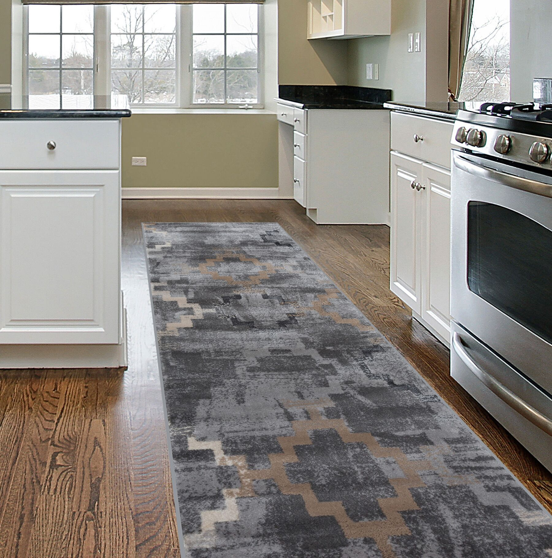 Lancaster Distressed Contemporary Design Gray Area Rug Rug Size: Runner 2' x 7'
