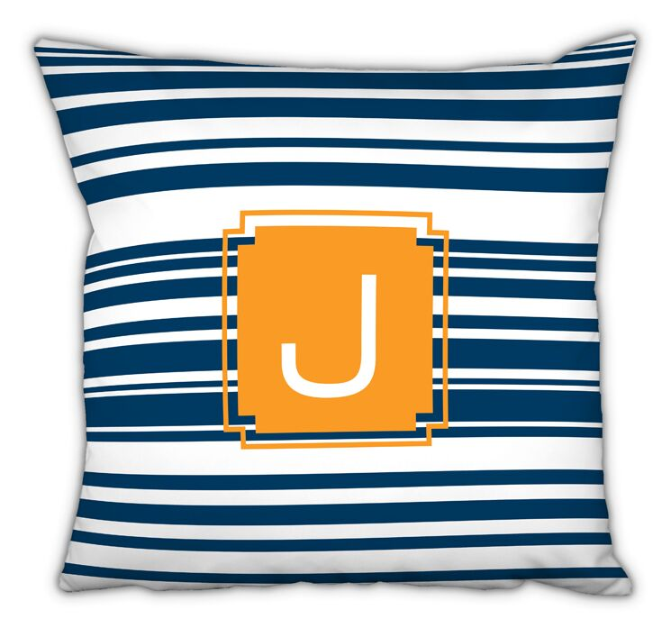 Block Island Single Initial Cotton Throw Pillow Letter: O