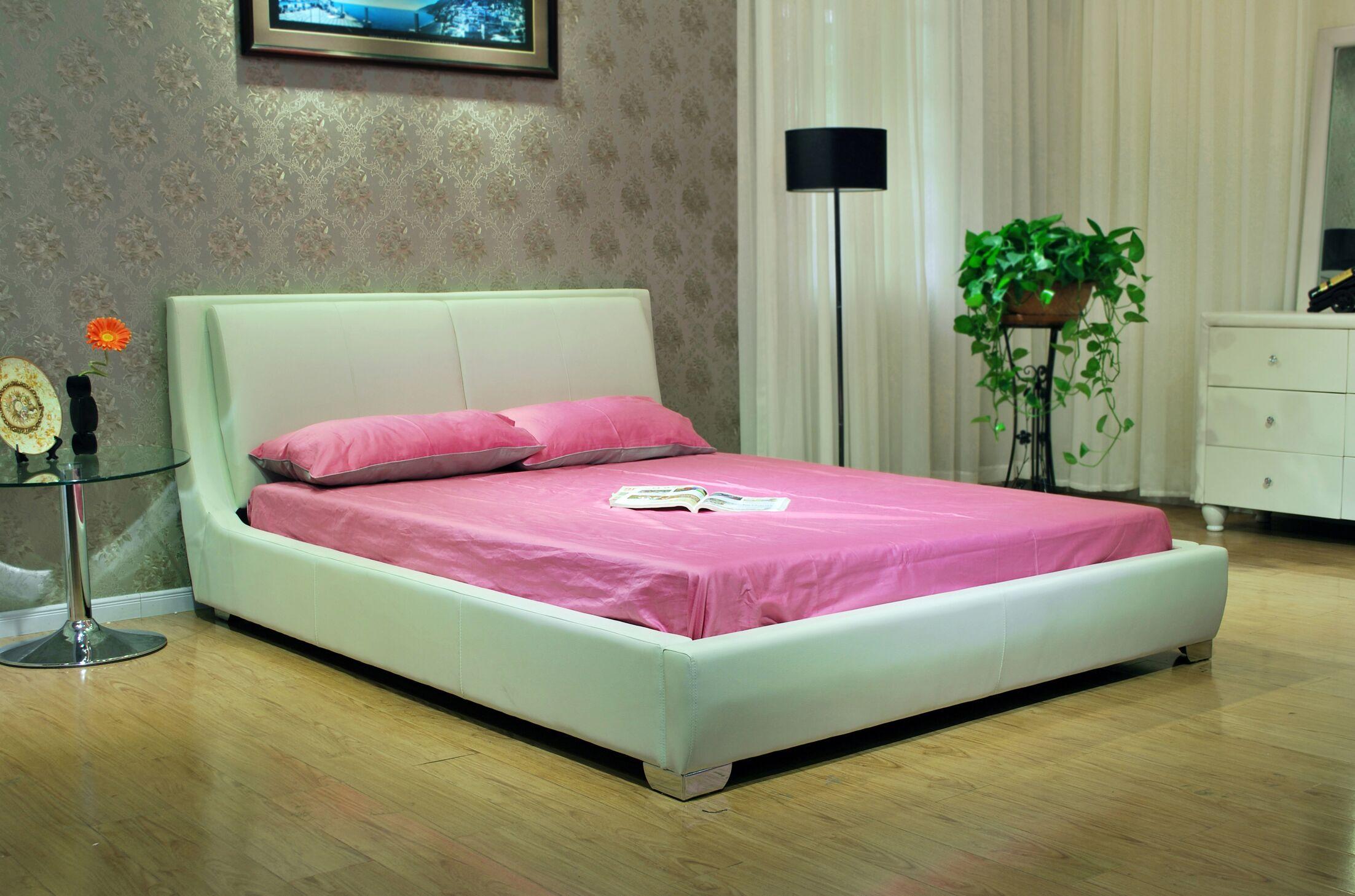 Upholstered Platform Bed Size: California King, Color: White