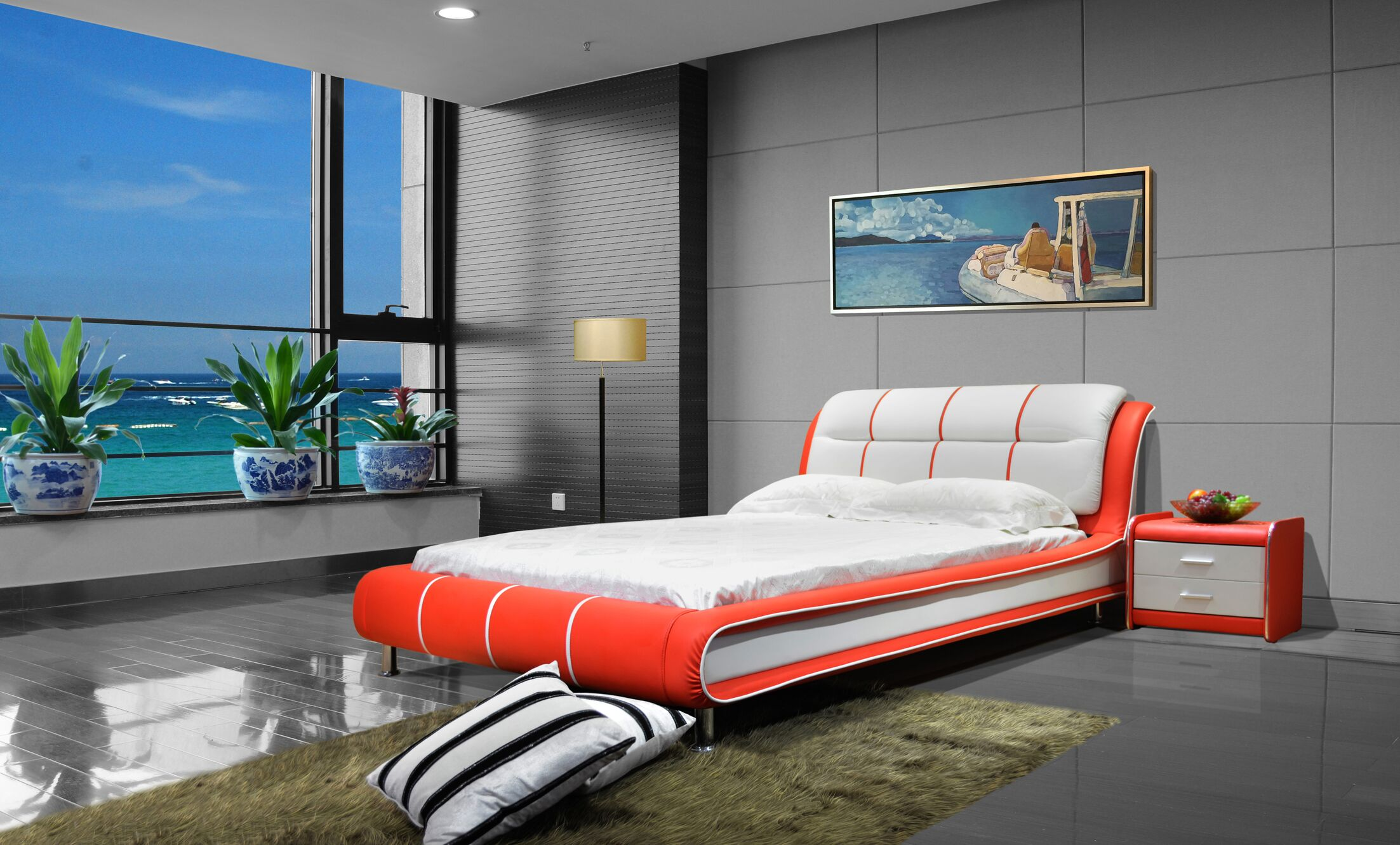 Bovina Upholstered Platform Bed Size: California King, Color: Red / White