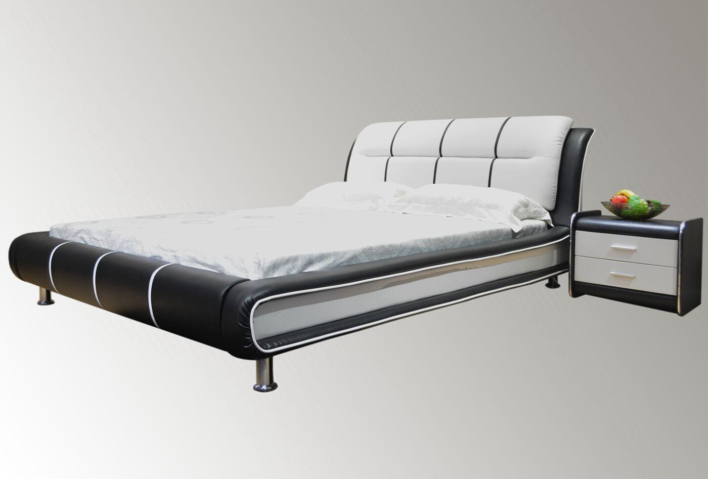 Bovina Upholstered Platform Bed Size: Queen, Color: Black / White