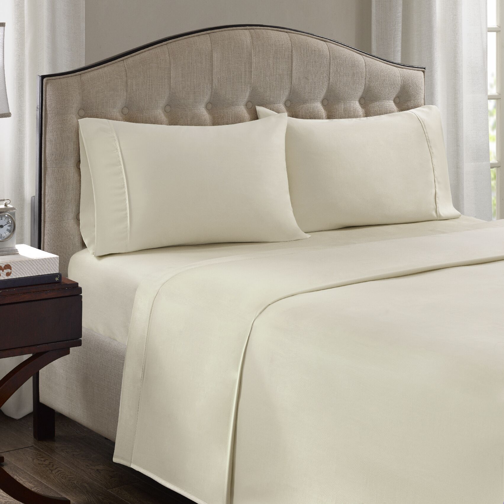 Fowler 1500 Thread Count 100% Cotton Blend Sheet Set Size: King, Color: Ivory