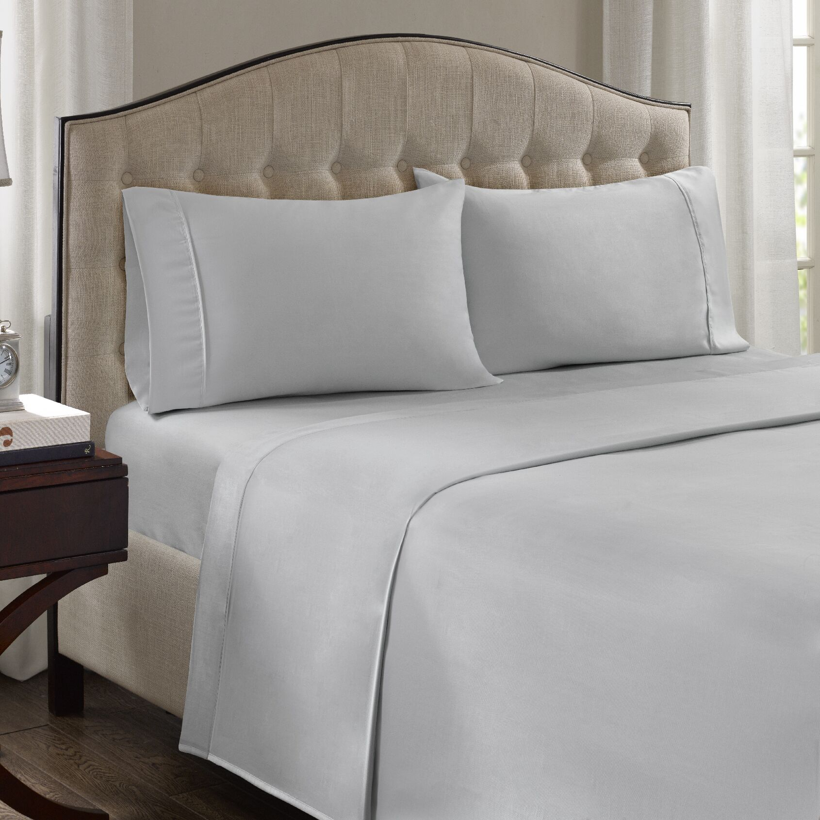 Fowler 1500 Thread Count 100% Cotton Blend Sheet Set Size: California King, Color: White