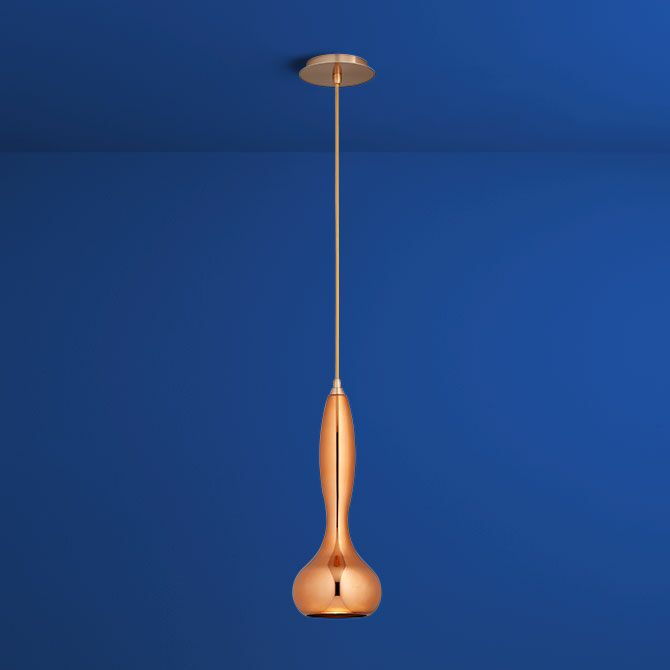 Pyrus 1-Light Teardrop Pendant Finish: Satin Copper, Shade Color: Copper Glass