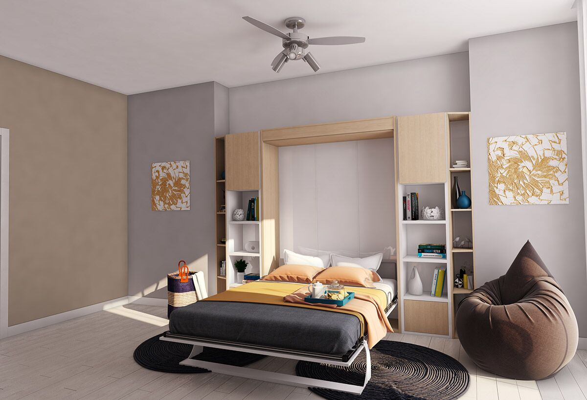 Gautreau Queen Murphy Bed Color: Semi-gloss white and Dark wood