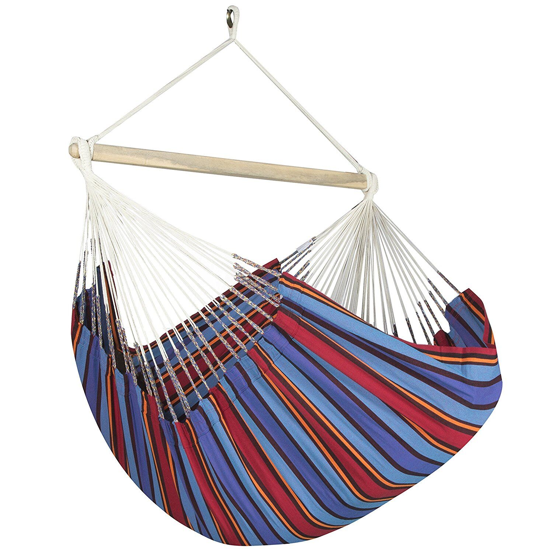Caribbean Striped Chair Hammock Color: Blue