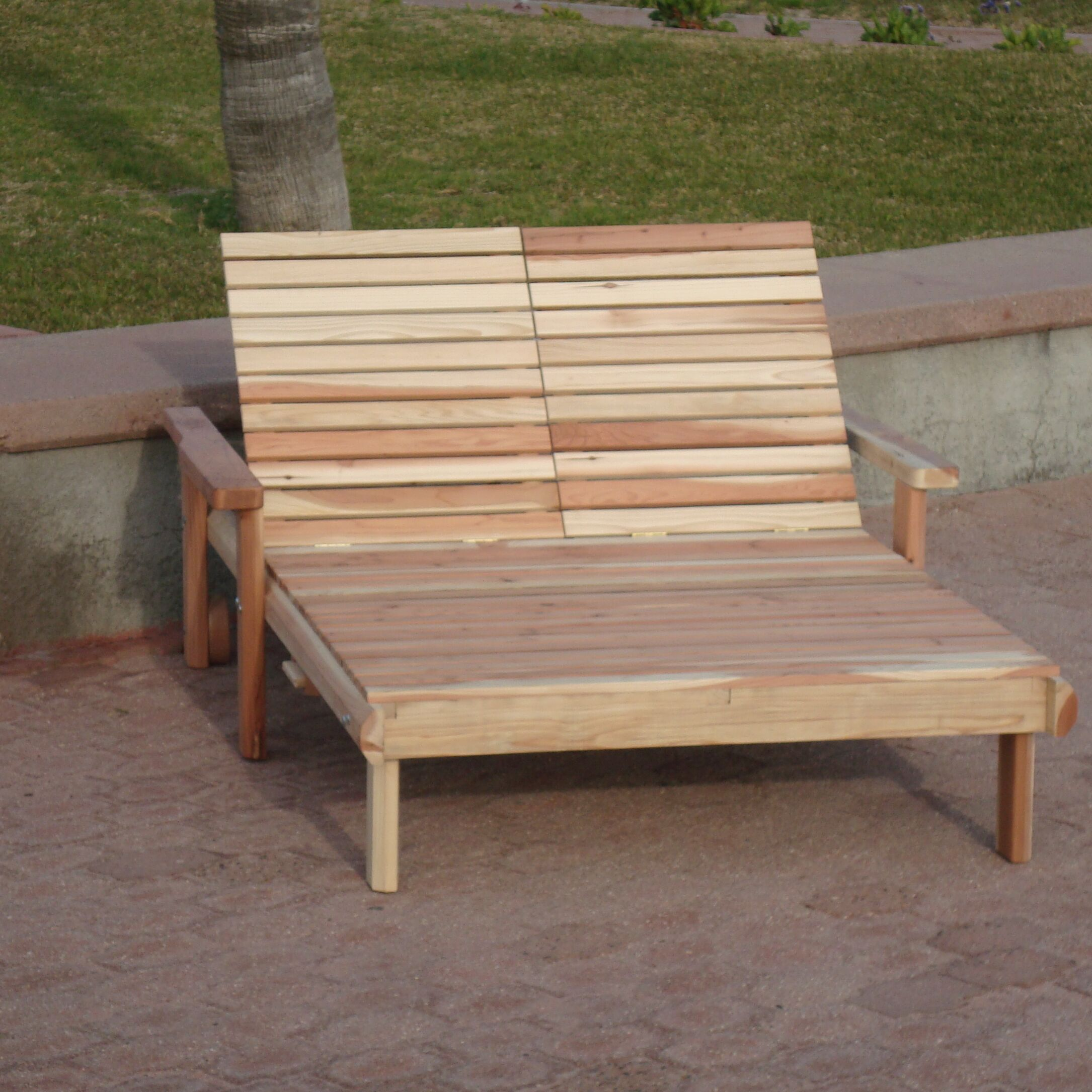 Henry Rustic Beach Double Wood Chaise Lounge Finish: Mahogany