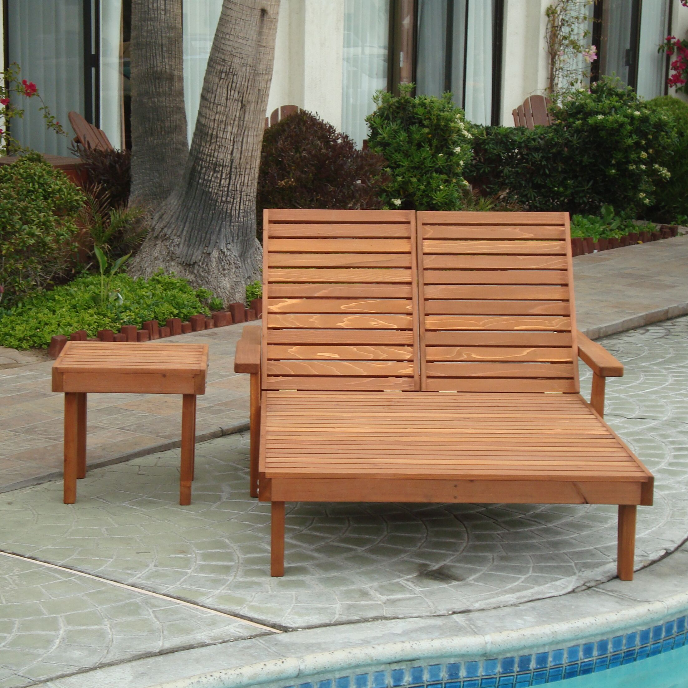 Varda Wood Double Chaise Lounge Finish: Mahogany