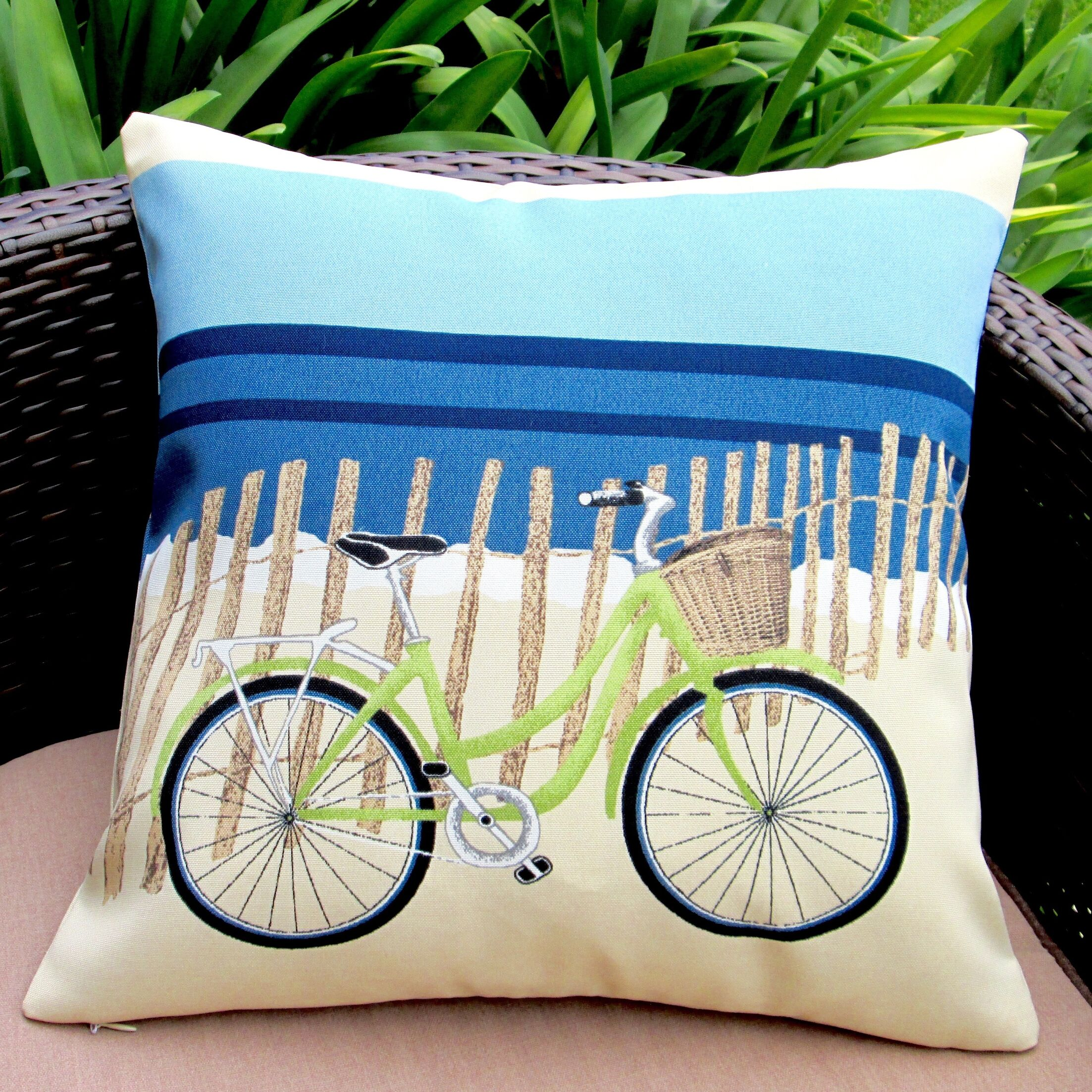 Beach Bike Coastal Beach House Modern Indoor/Outdoor Throw Pillow